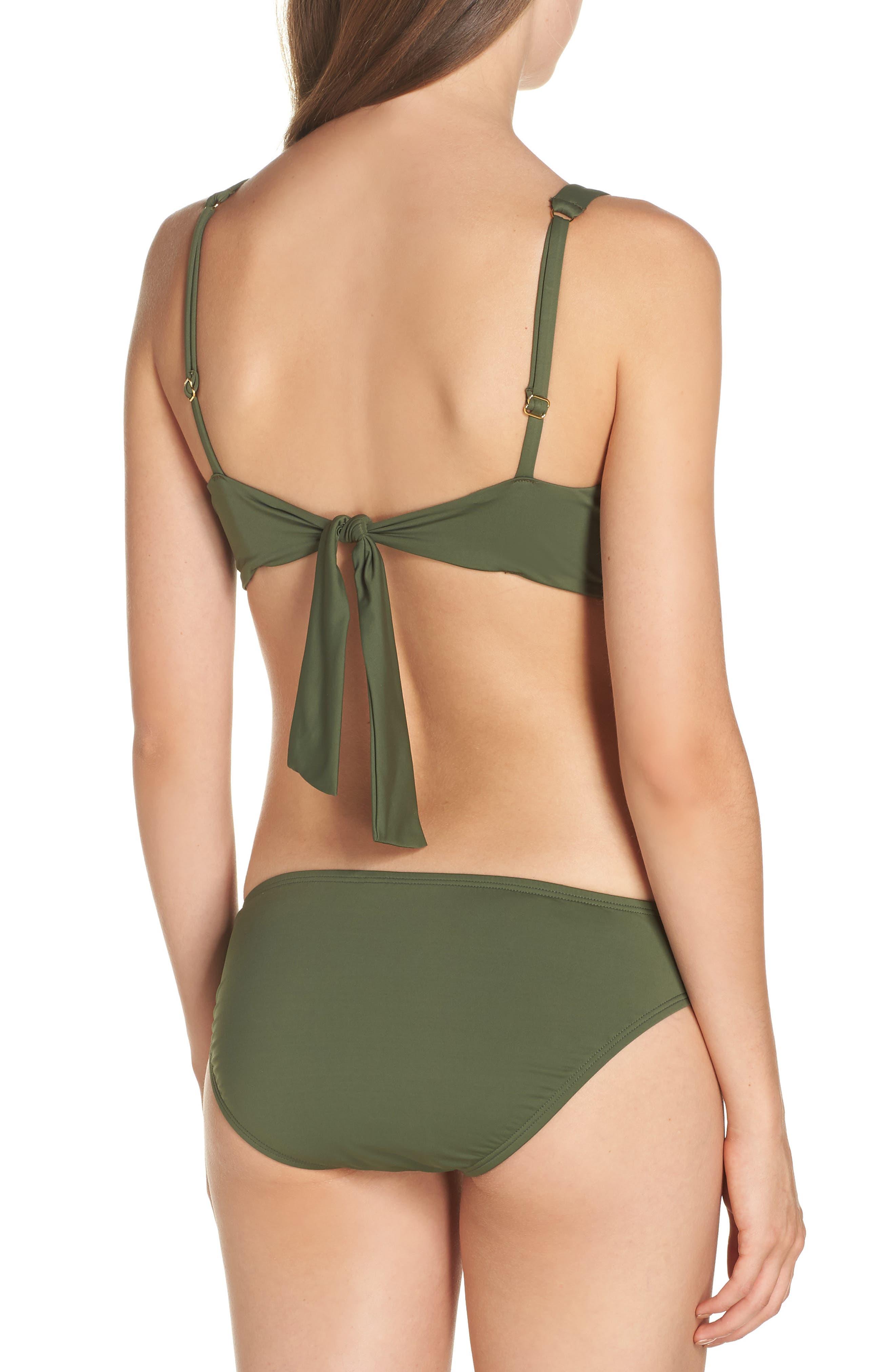 Side Shirred Hipster Bikini Bottoms,                             Alternate thumbnail 8, color,                             DARK TEA LEAF