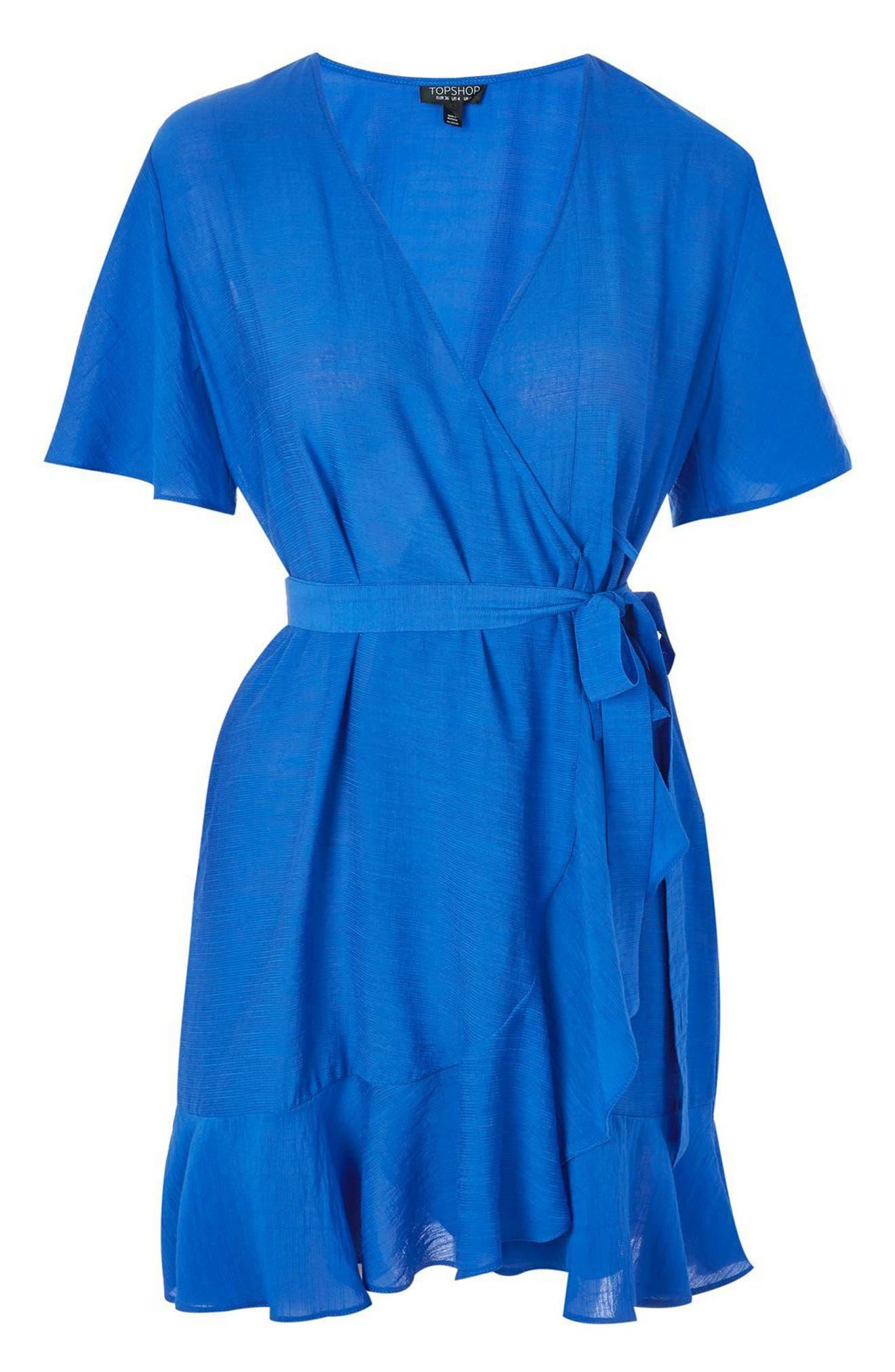 Ruffle Wrap Dress,                             Alternate thumbnail 4, color,                             400