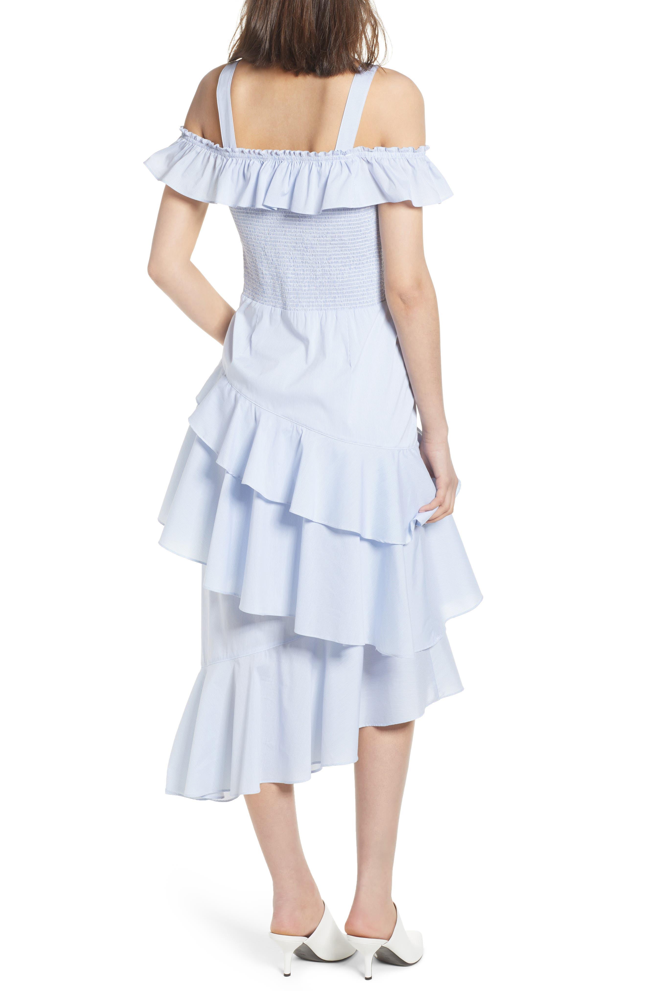 Ruffle Smocked Cold Shoulder Dress,                             Alternate thumbnail 3, color,