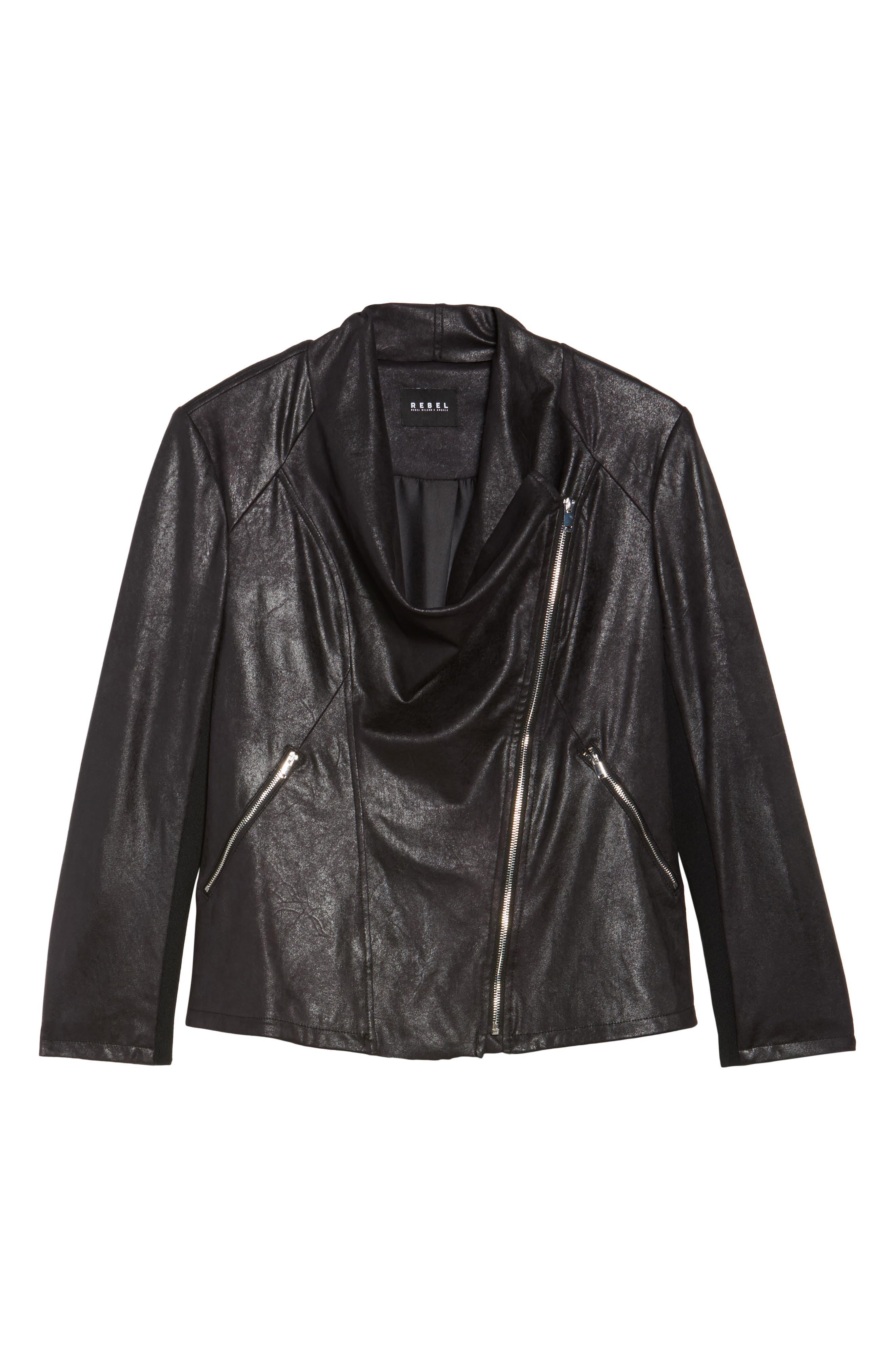 Asymmetrical Faux Leather Jacket,                             Alternate thumbnail 5, color,                             001