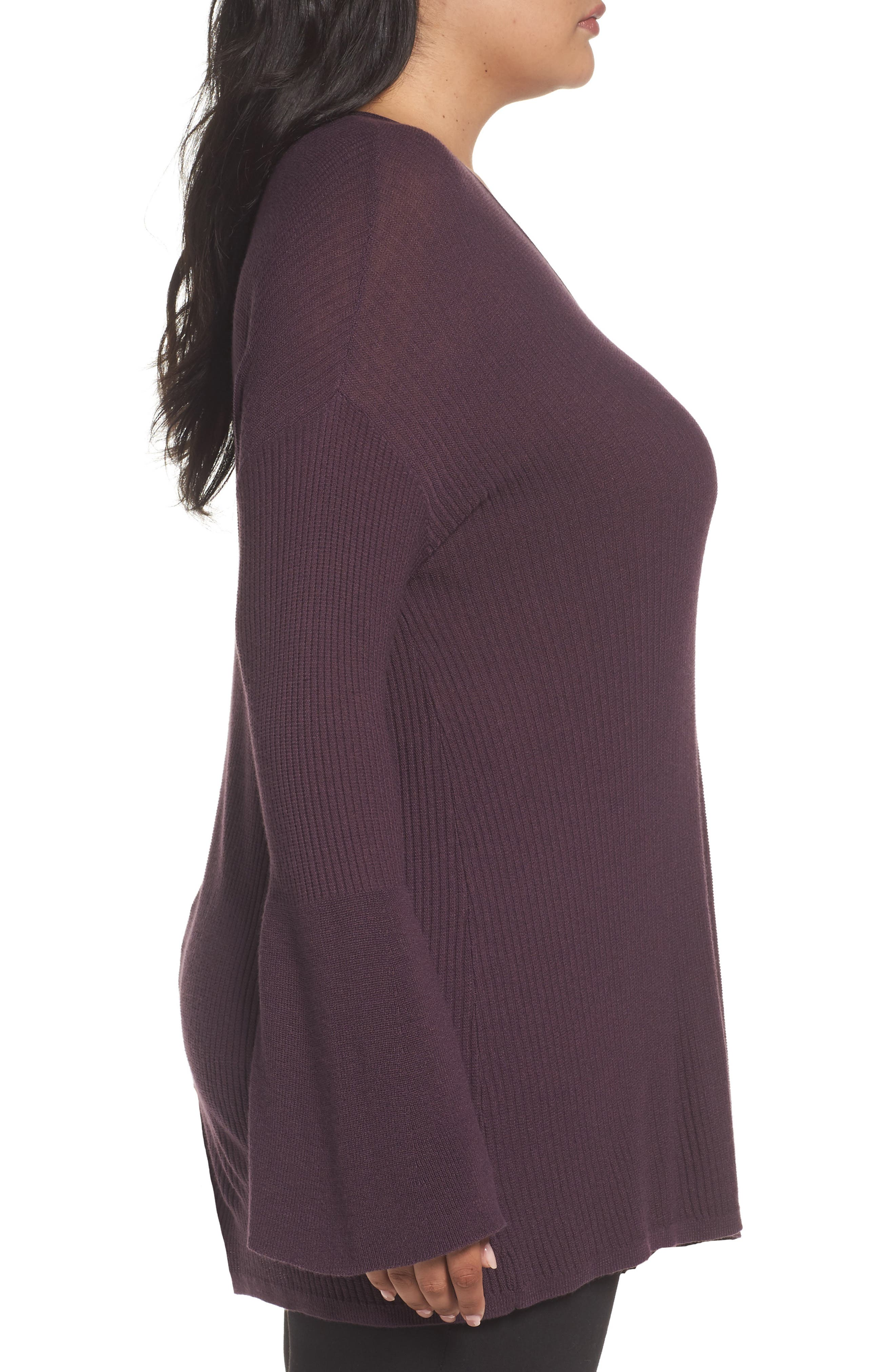 Ribbed Bell Sleeve Sweater,                             Alternate thumbnail 6, color,