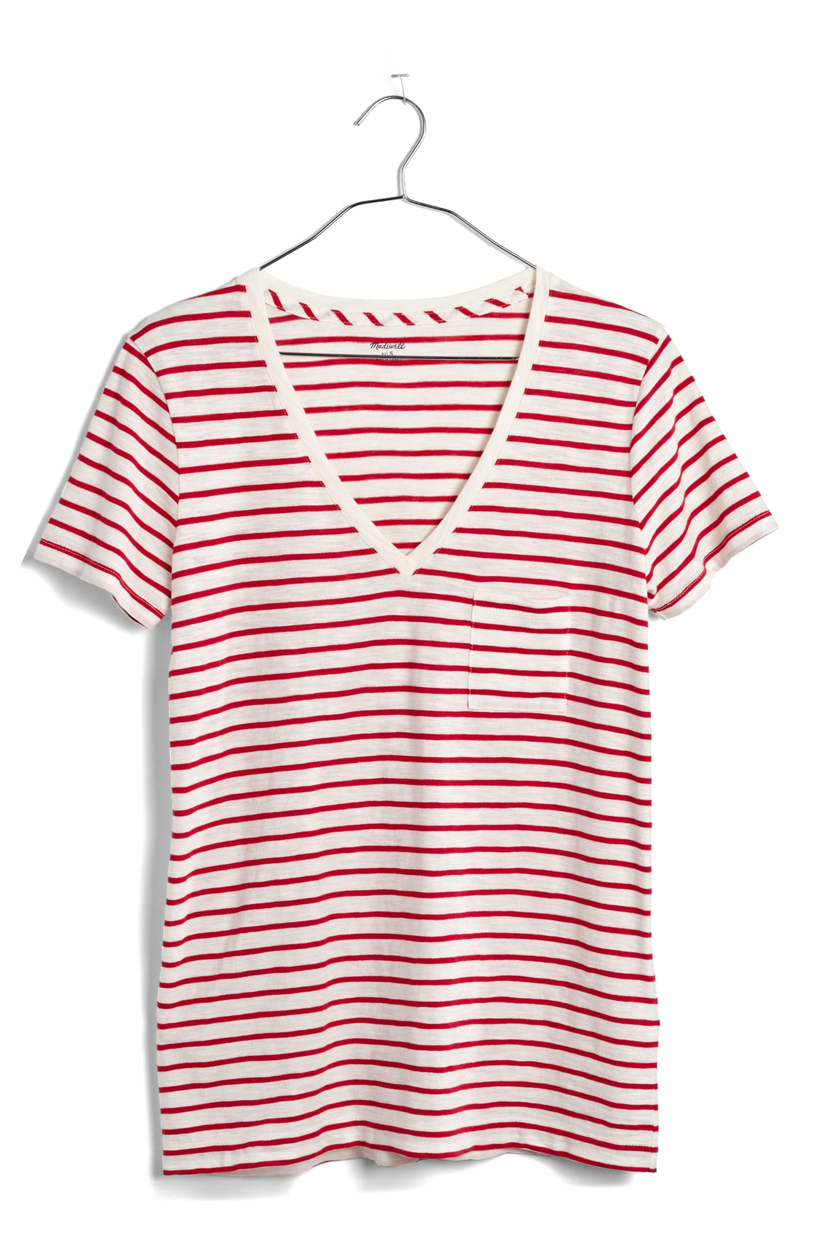 Whisper Cotton Stripe V-Neck Tee,                             Alternate thumbnail 4, color,                             601