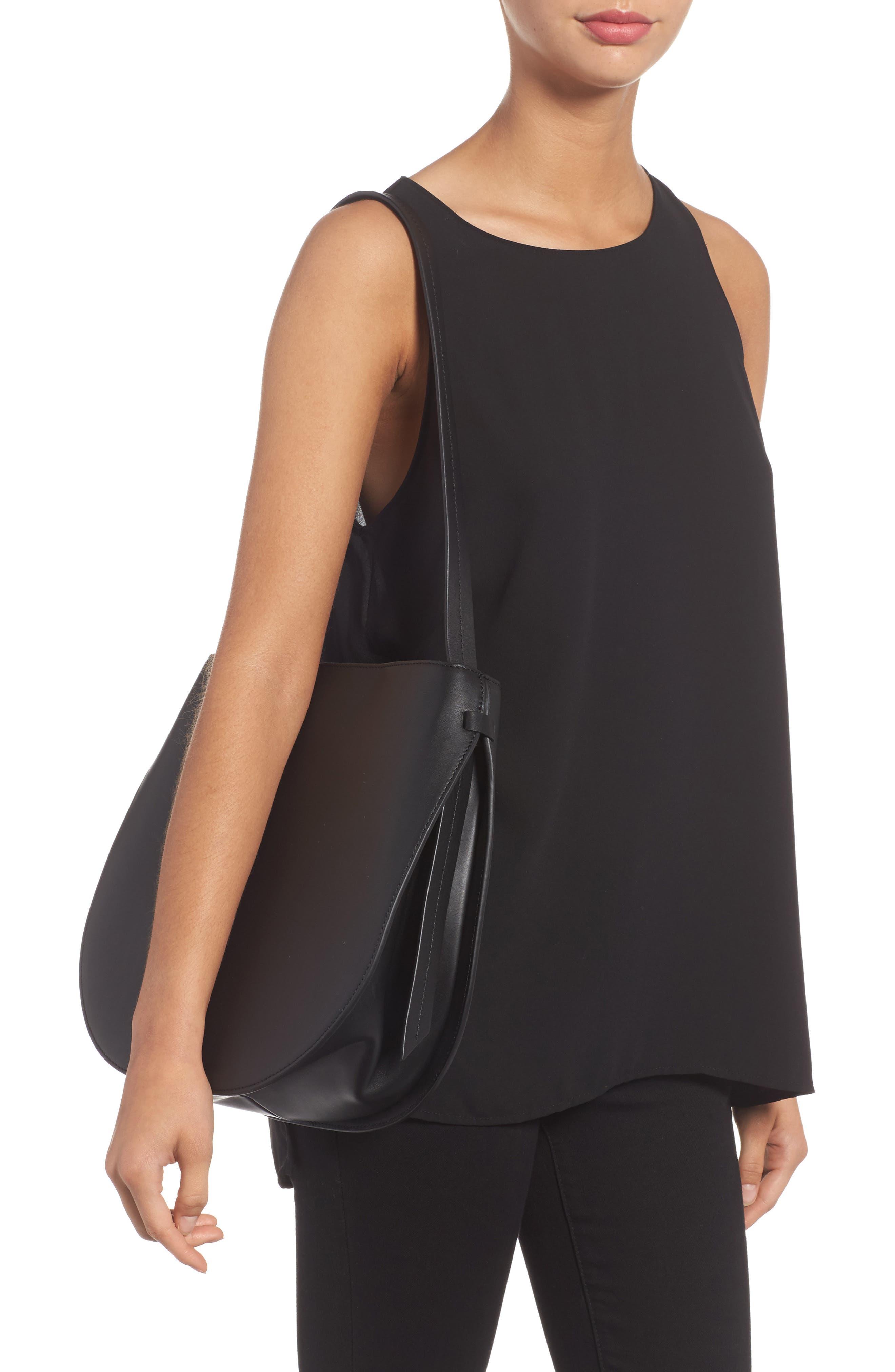Helena Half Moon Leather Shoulder Bag,                             Alternate thumbnail 2, color,                             001