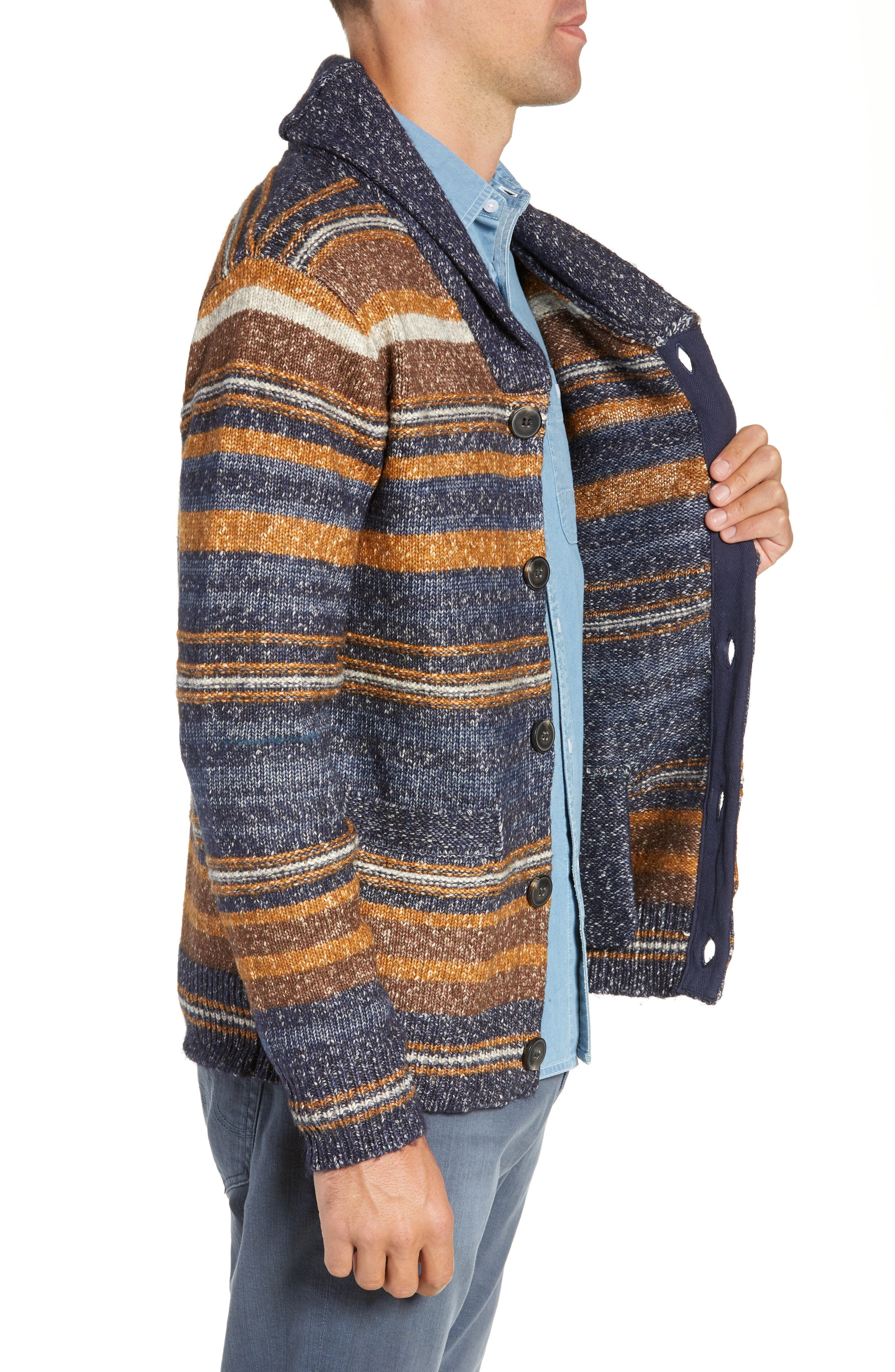 Stripe Cardigan Sweater,                             Alternate thumbnail 3, color,                             STRIPE