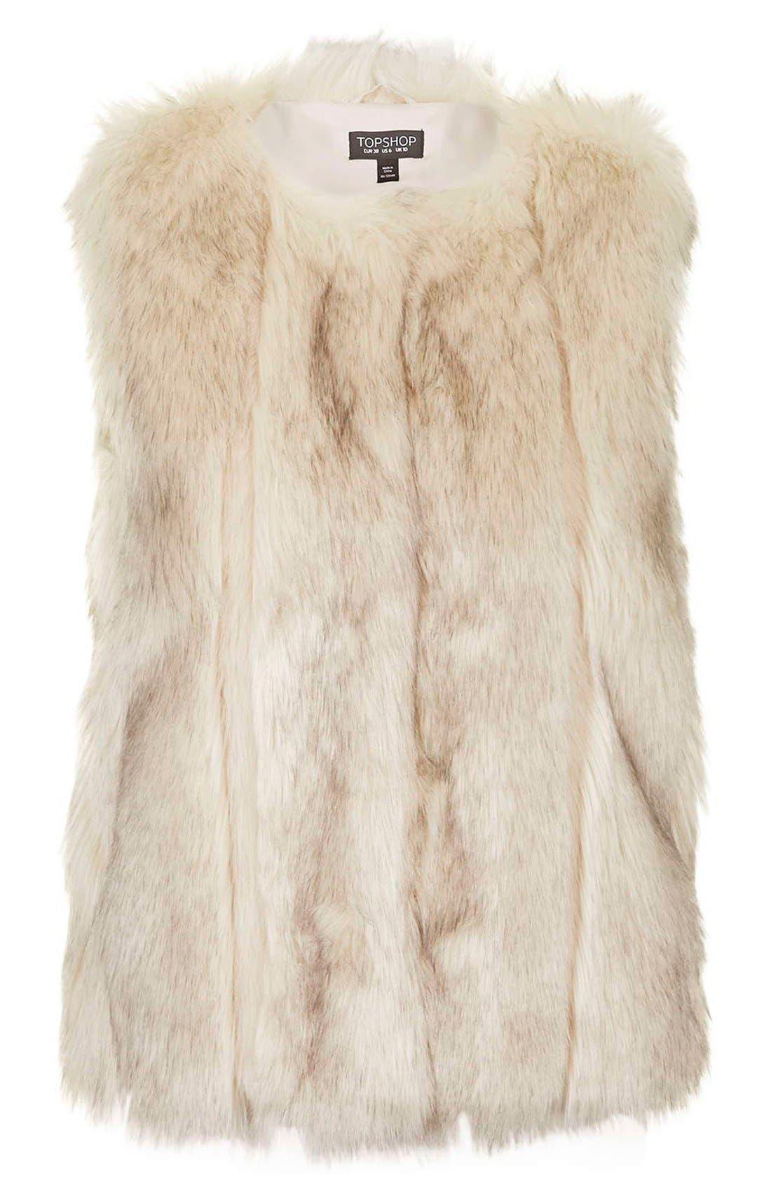 'Leah' Faux Fur Vest,                             Alternate thumbnail 6, color,                             900