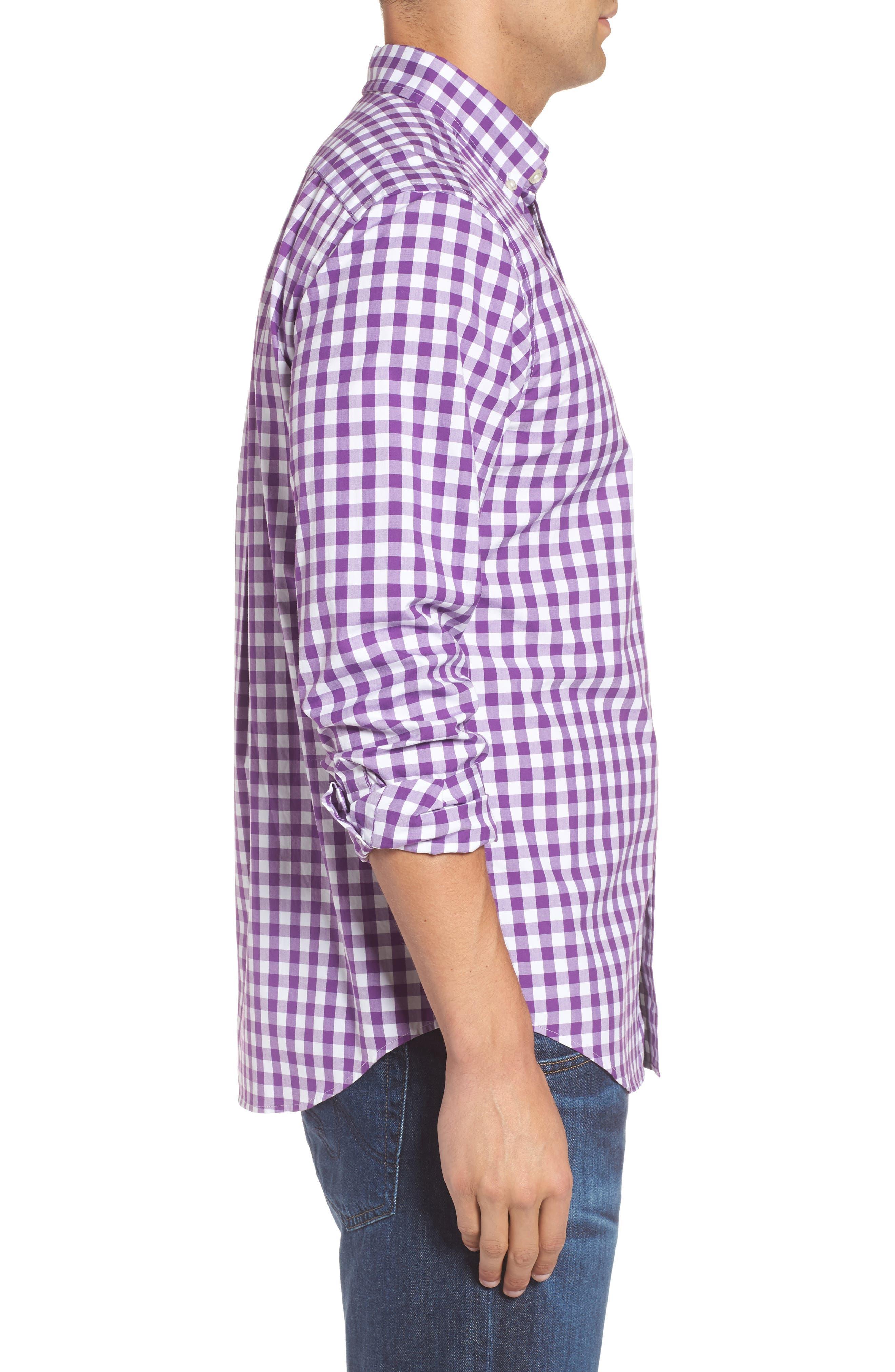 Classic Fit Tucker Garter Gingham Sport Shirt,                             Alternate thumbnail 3, color,