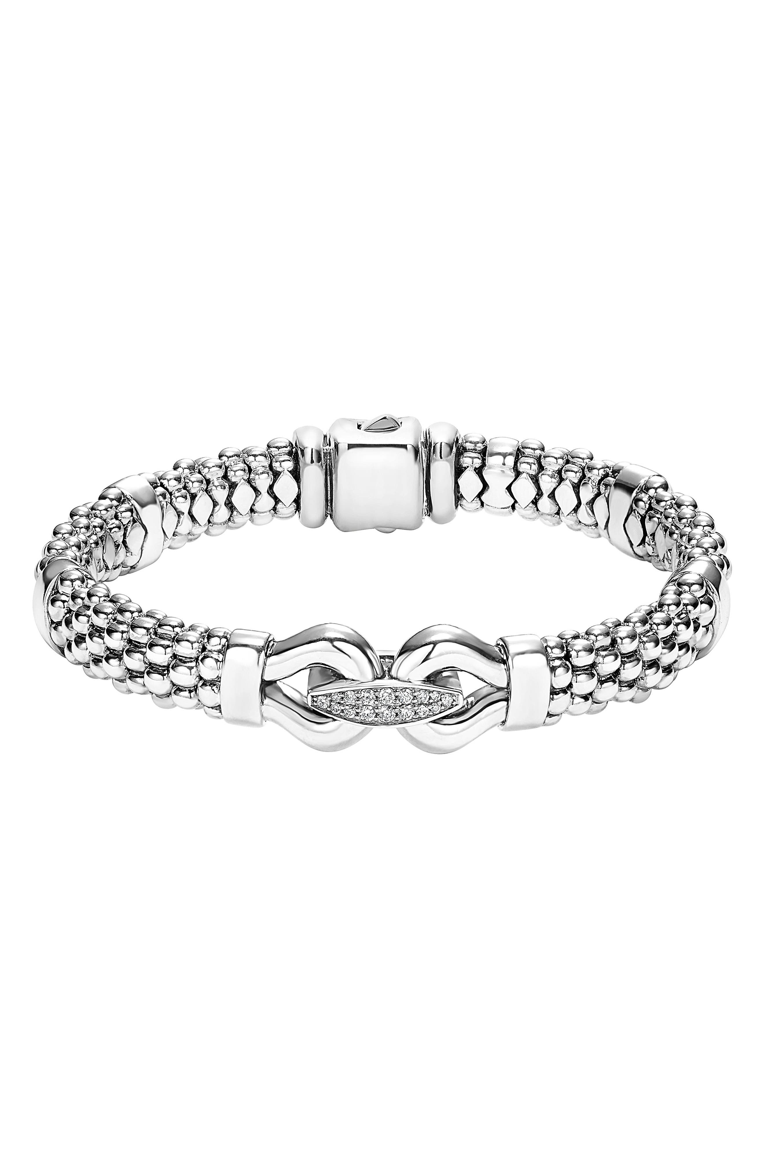 'Derby' Diamond Buckle Rope Bracelet,                         Main,                         color, STERLING SILVER