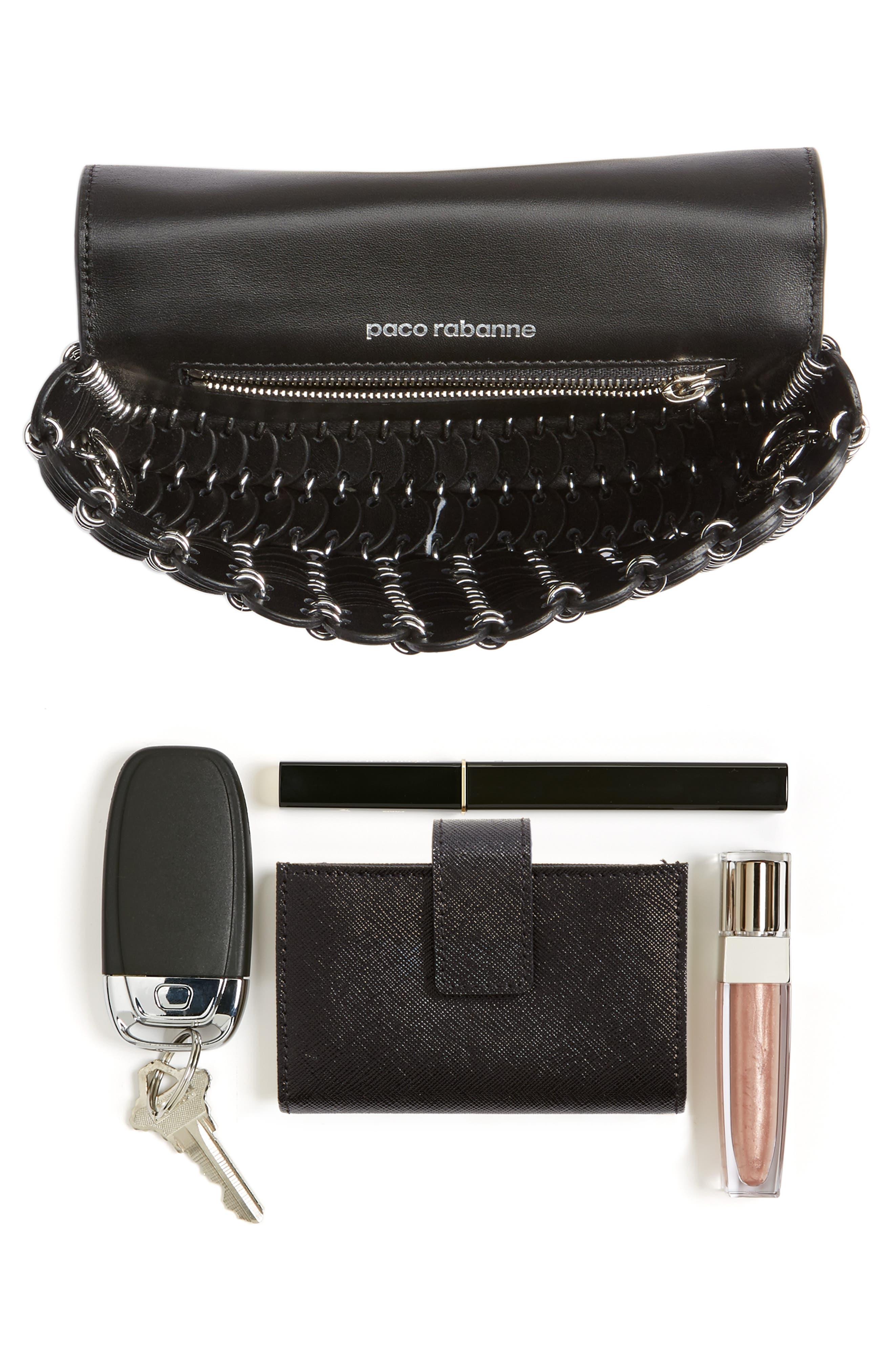 Mini Calfskin Shoulder Bag,                             Alternate thumbnail 8, color,                             BLACK
