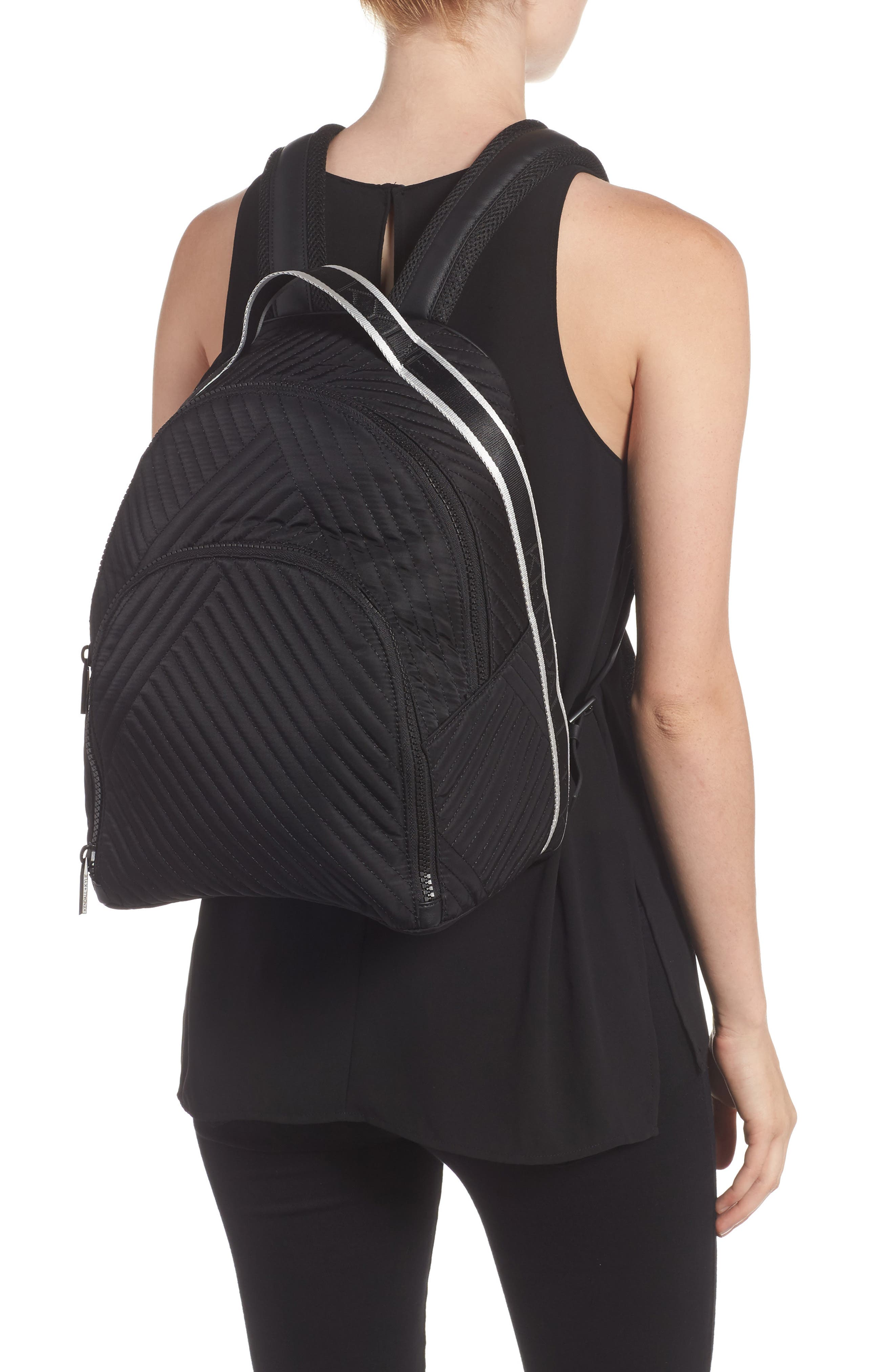 Jo Quilted Nylon Backpack,                             Alternate thumbnail 2, color,                             001