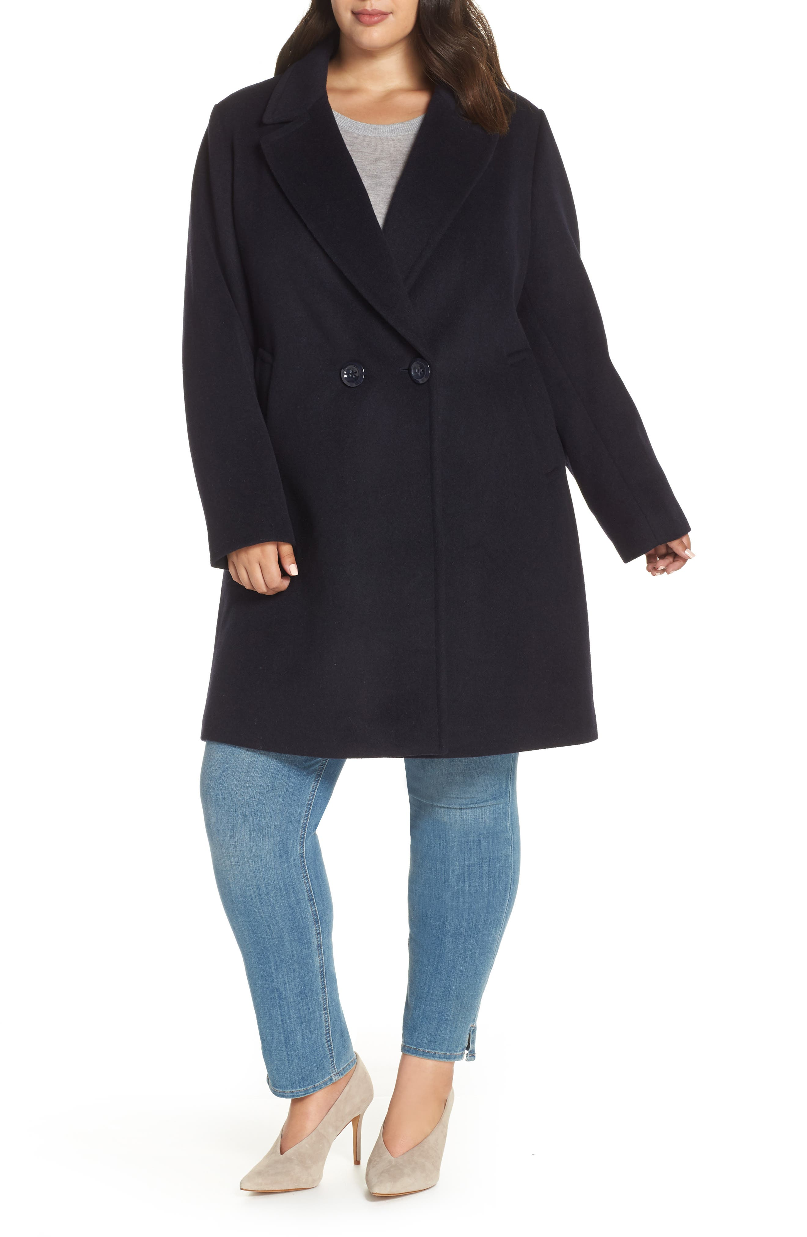 Wool Blend Notch Collar Coat,                             Main thumbnail 1, color,                             NAVY