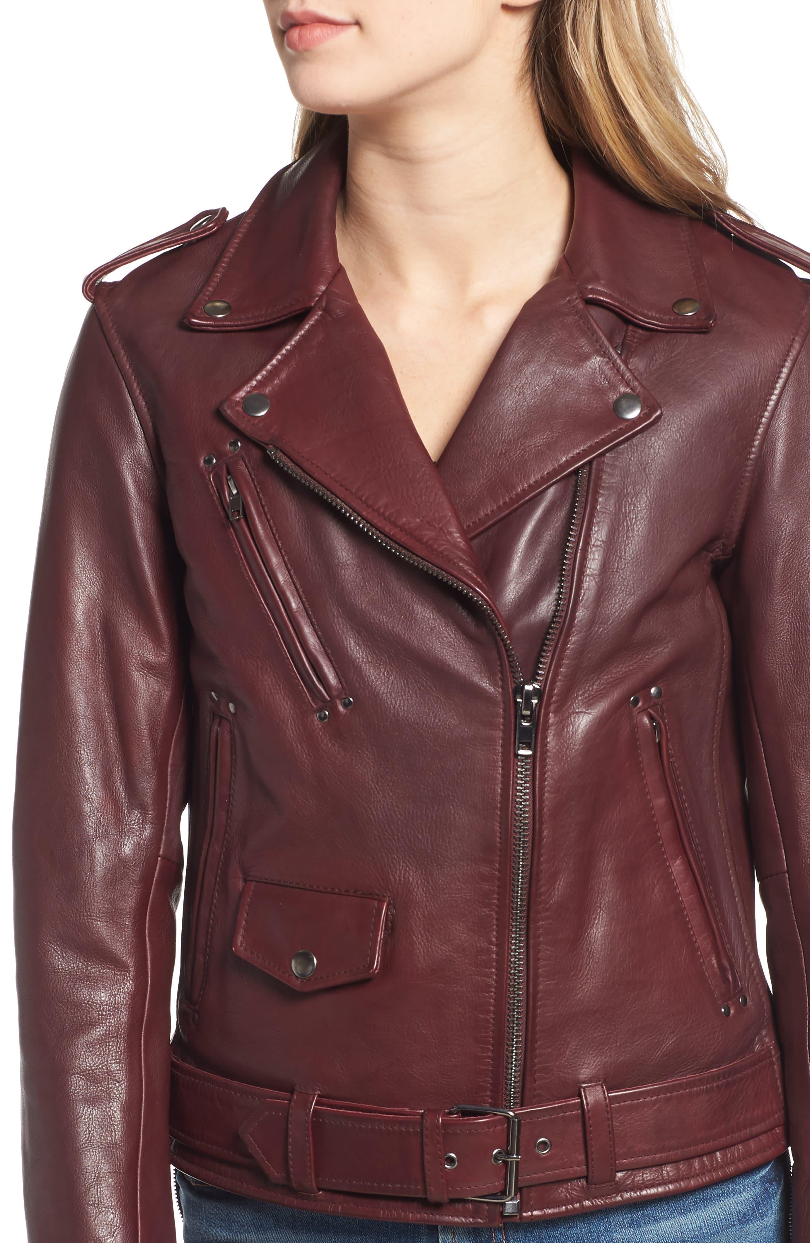Leather Biker Jacket,                             Alternate thumbnail 4, color,                             BLACKENED BORDEAUX