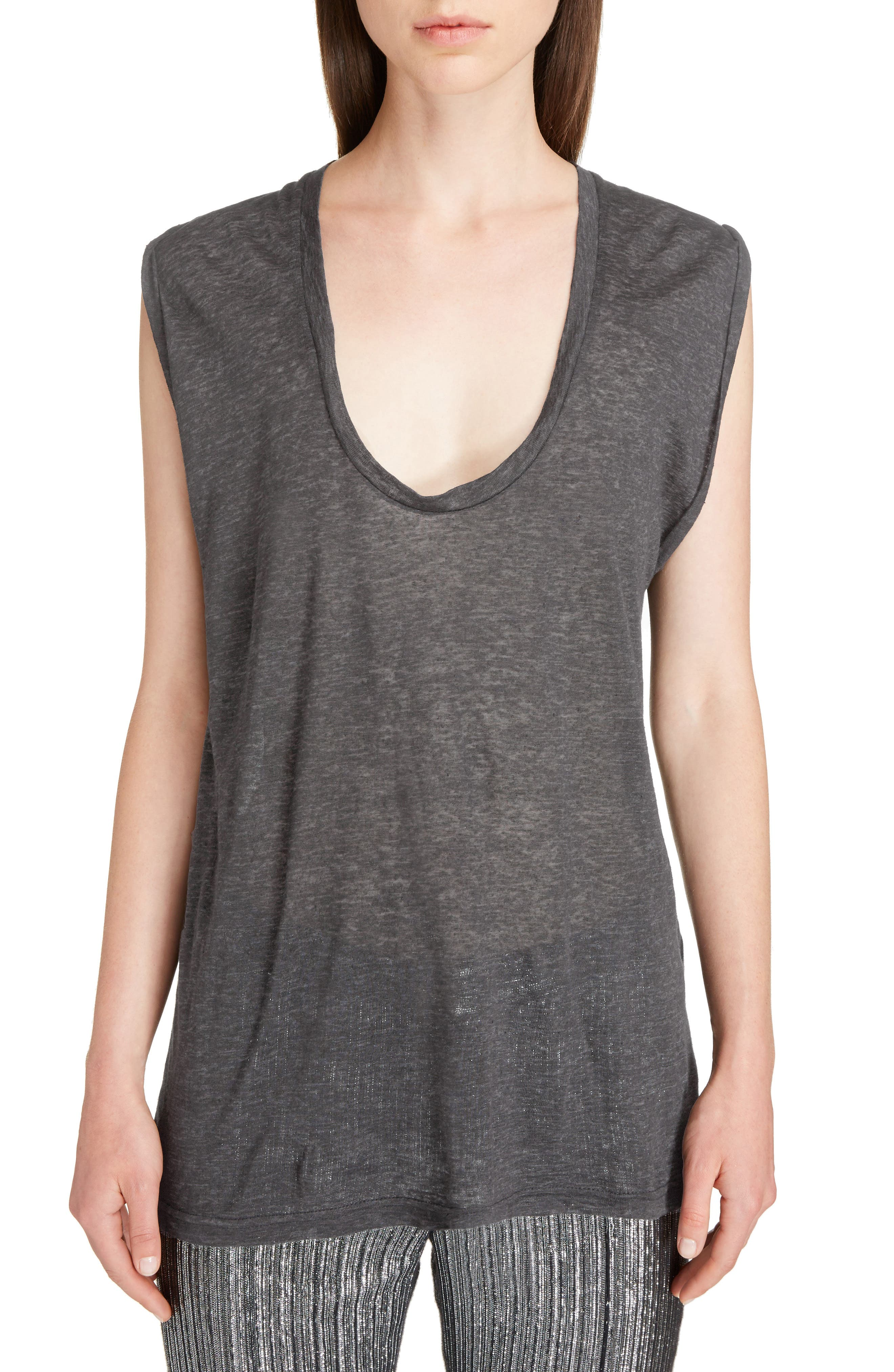 Draped Linen Tee,                             Main thumbnail 1, color,                             020
