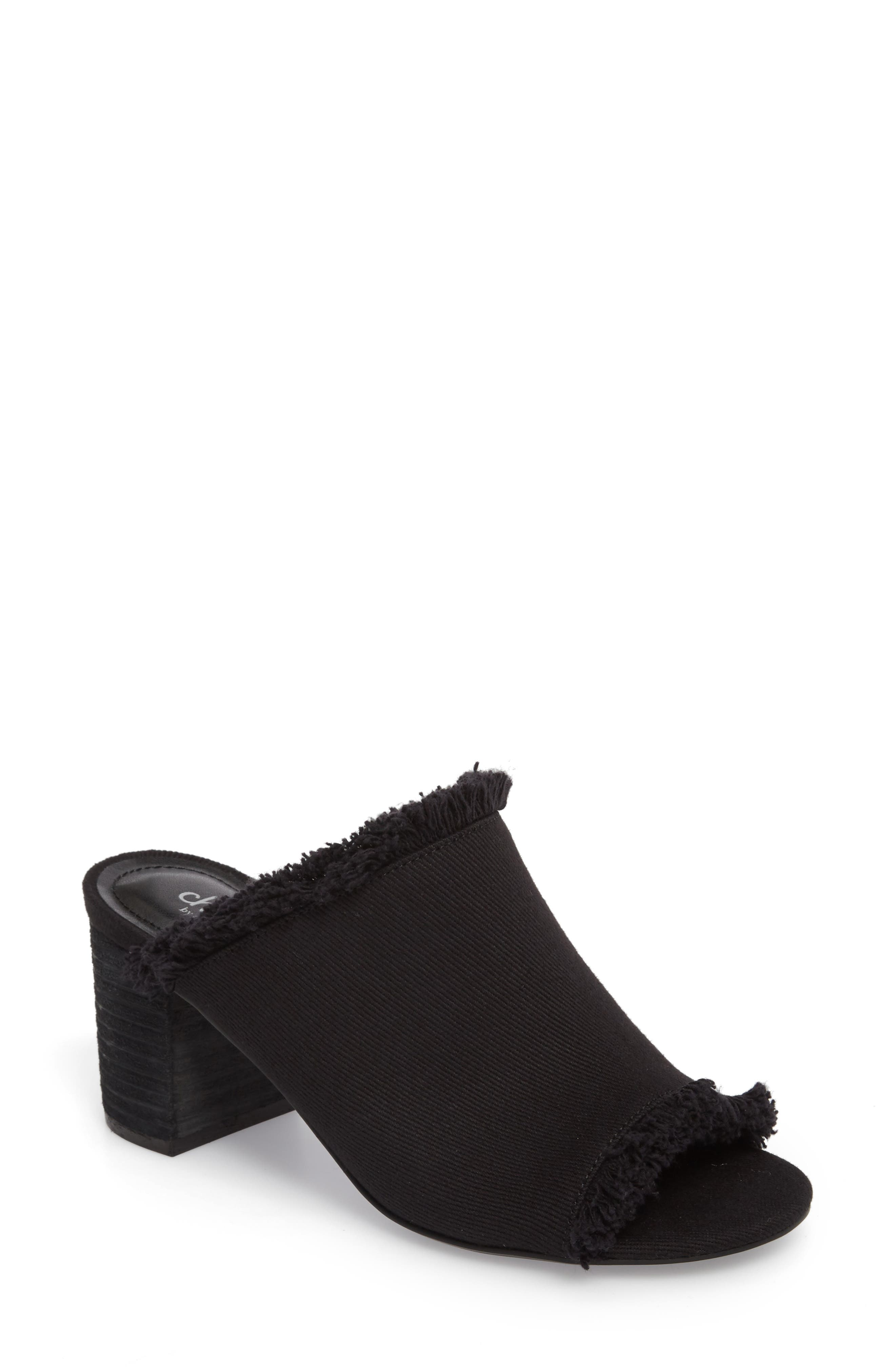 Kadia Fringed Mule Sandal,                         Main,                         color, 001
