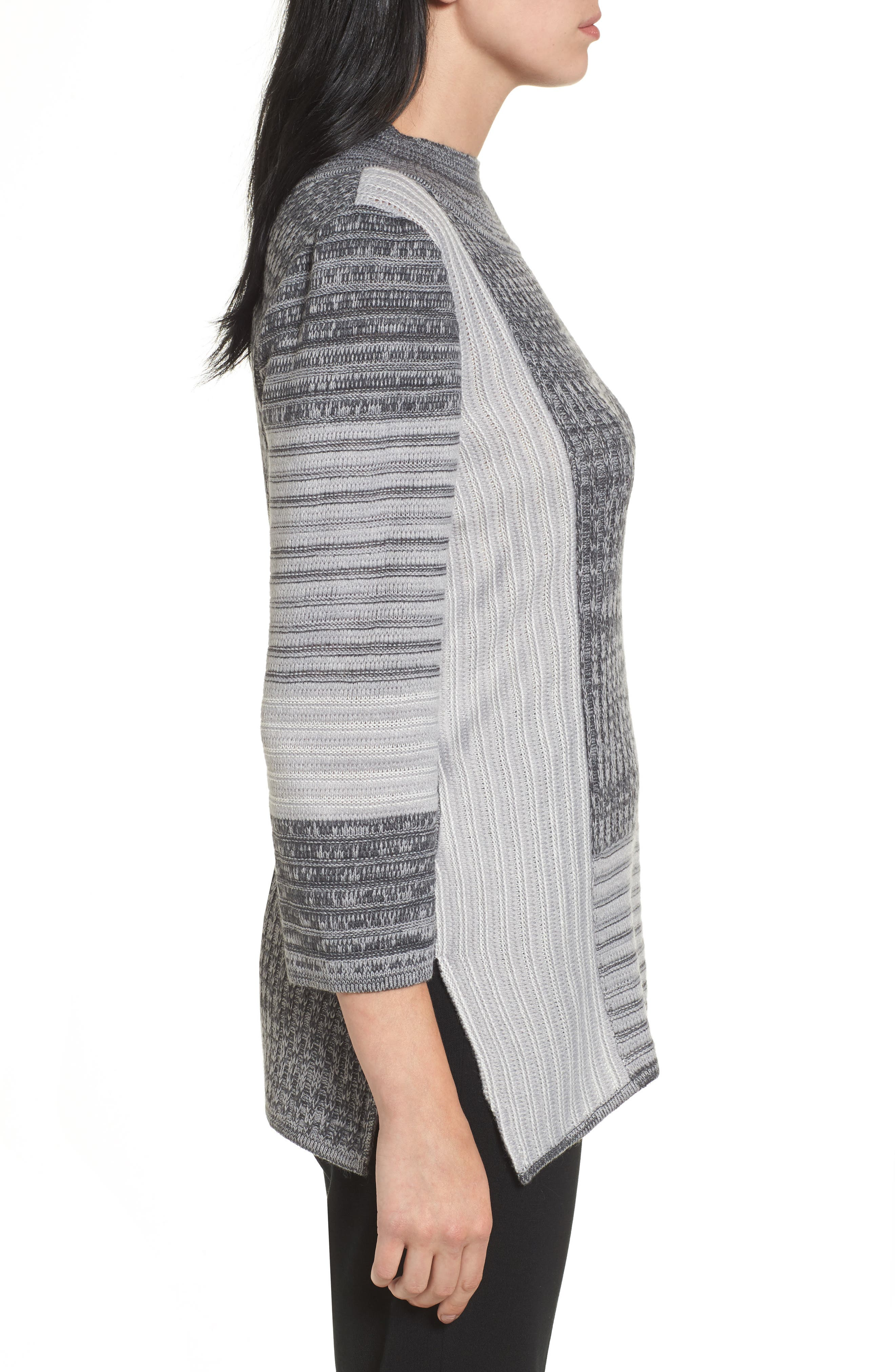 Mixed Knit Tunic Sweater,                             Alternate thumbnail 3, color,                             029