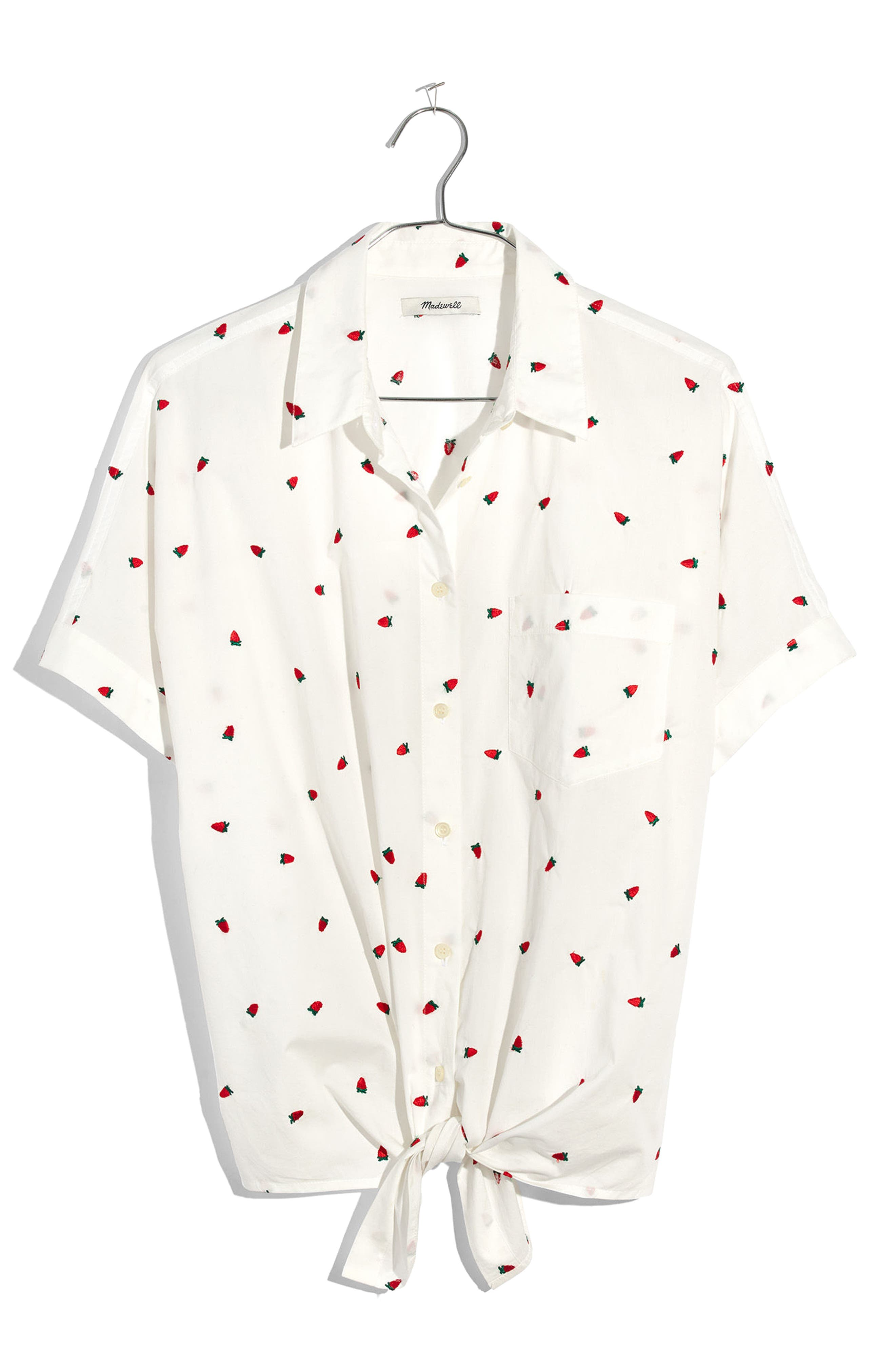 MADEWELL,                             Strawberry Embroidered Tie Front Shirt,                             Alternate thumbnail 4, color,                             100