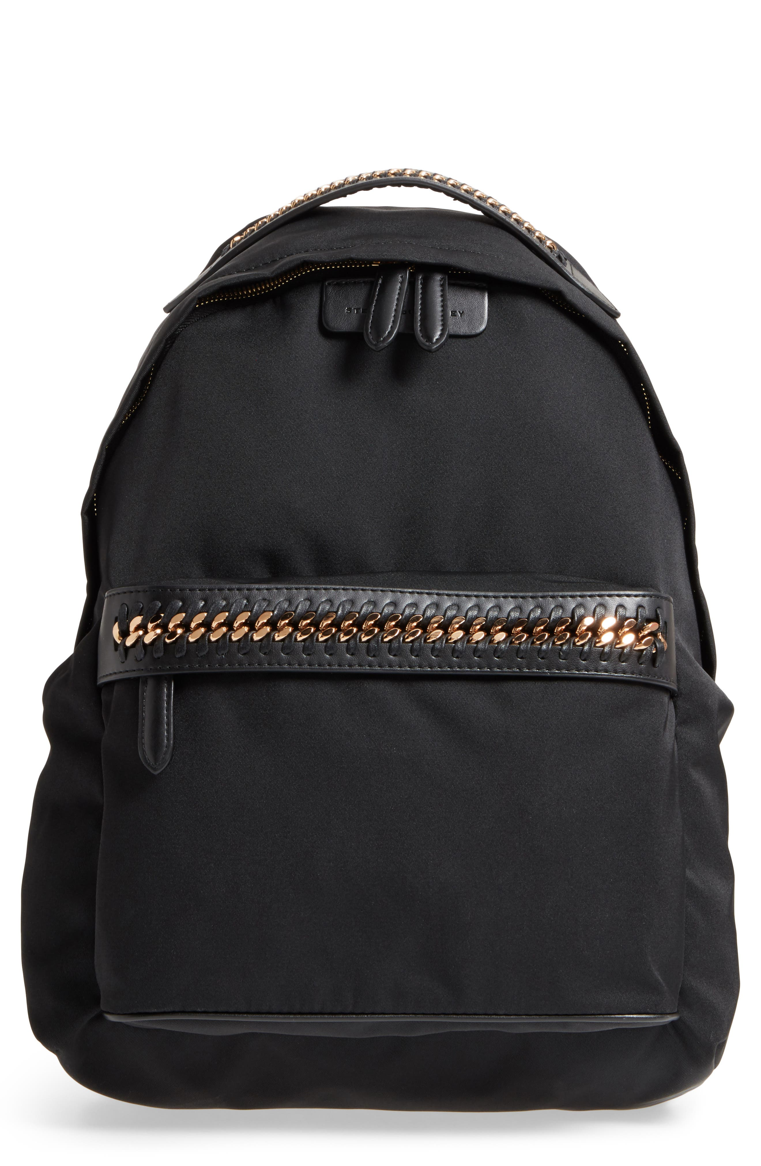 Falabella Nylon Backpack,                         Main,                         color, BLACK