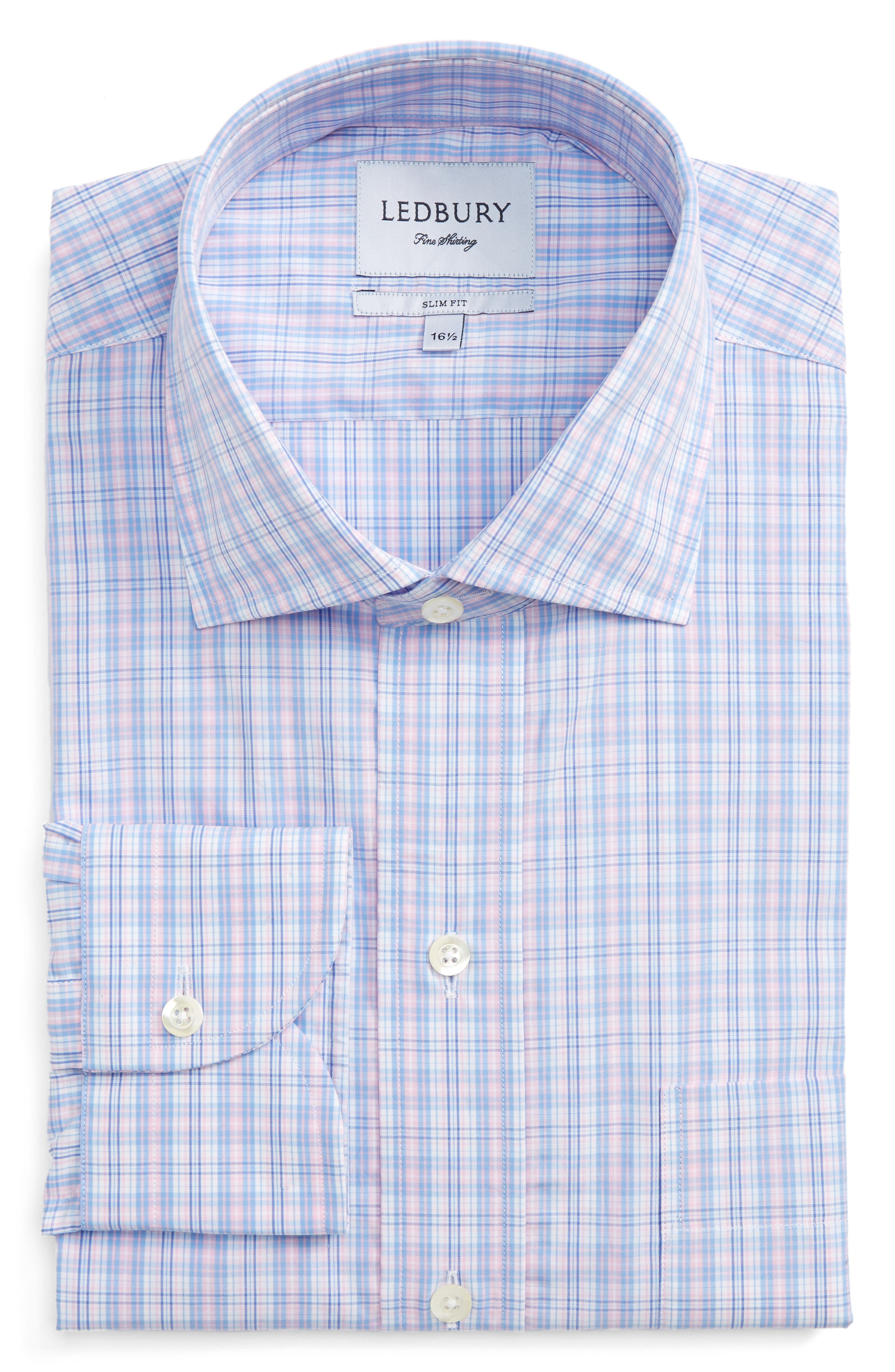 Slim Fit Plaid Dress Shirt,                         Main,                         color, 650