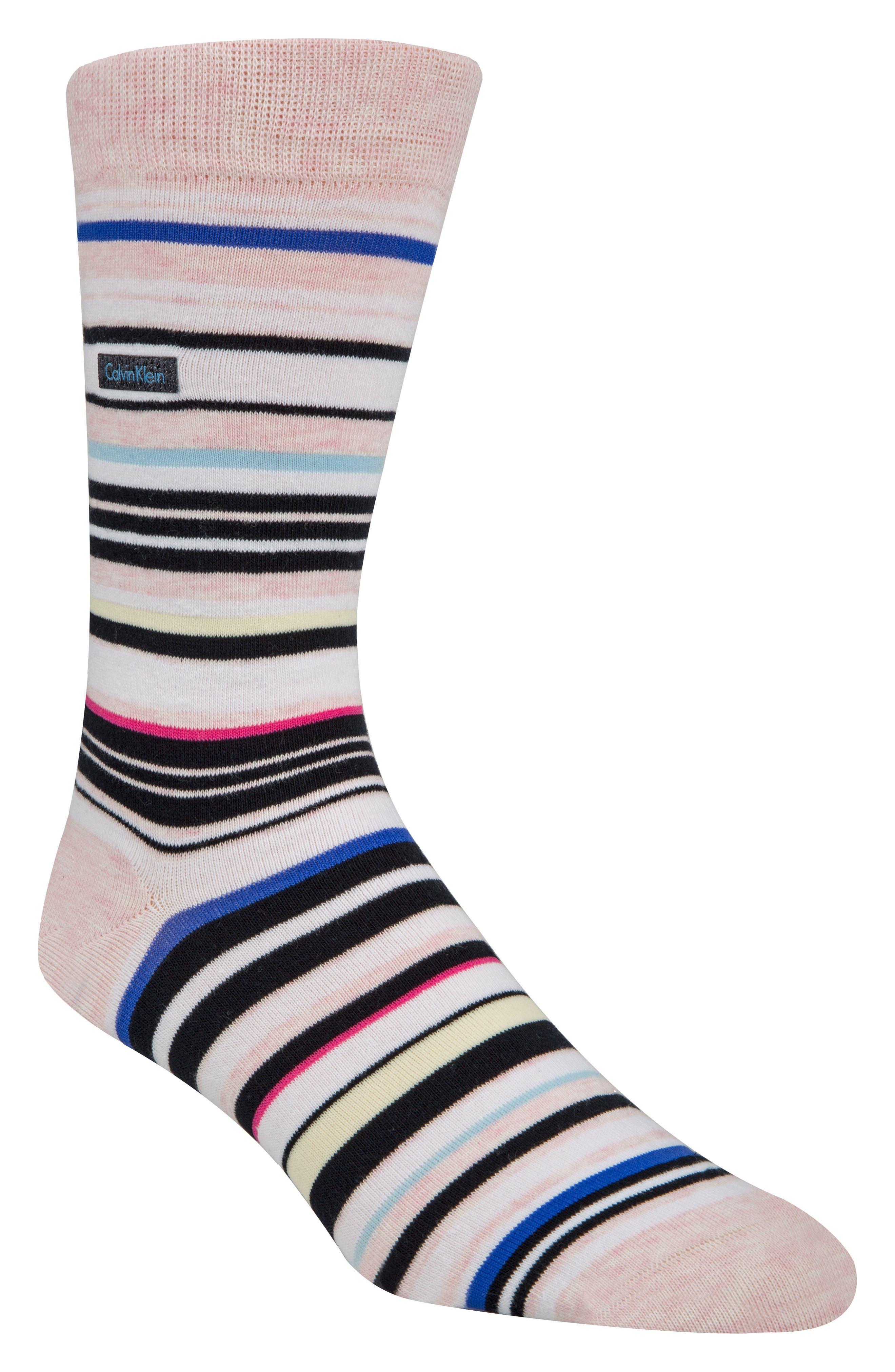 Multistripe Emblem Socks,                         Main,                         color, FADED PINK