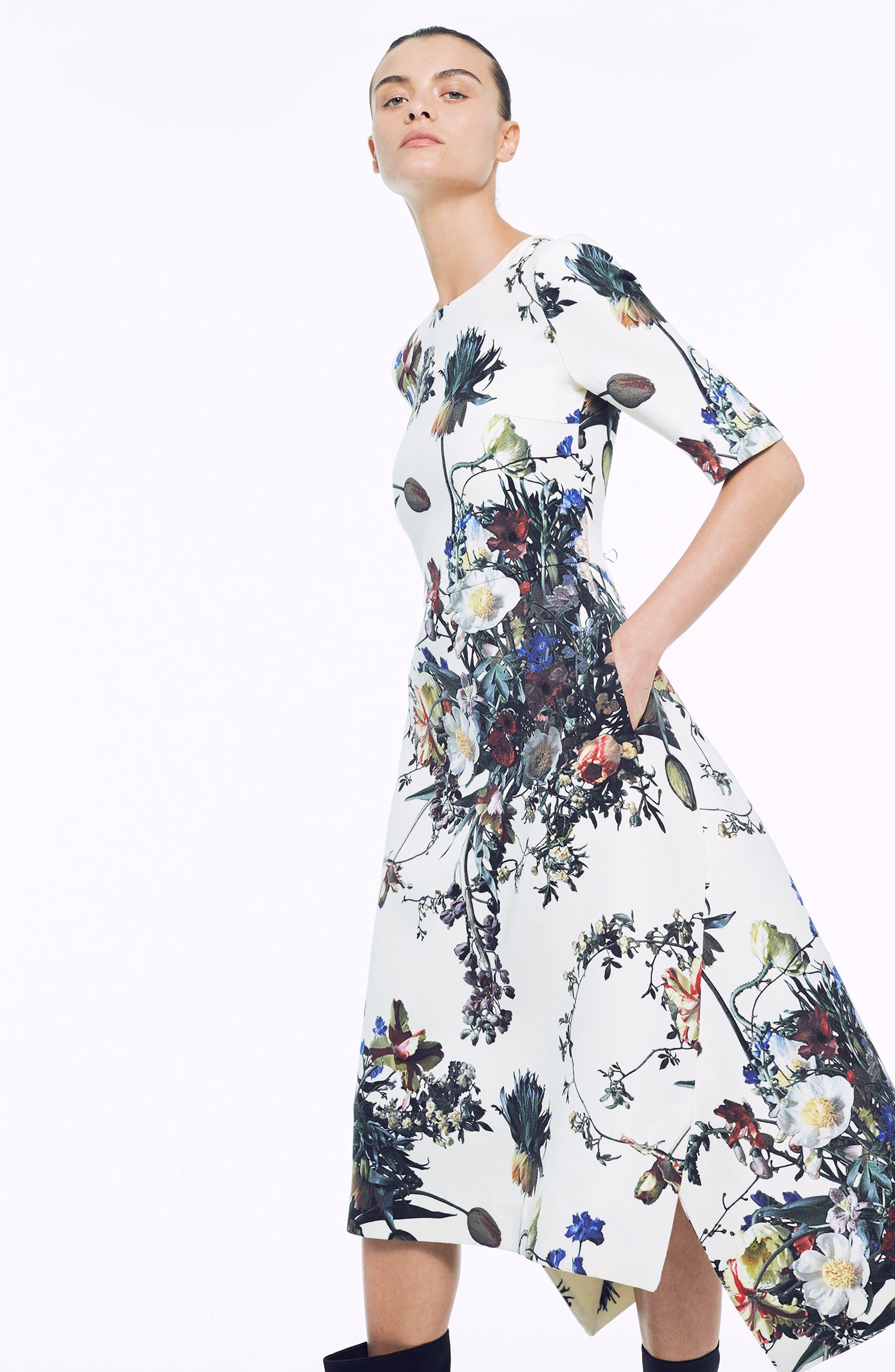 Floral Print Trapeze Dress,                             Alternate thumbnail 7, color,                             900