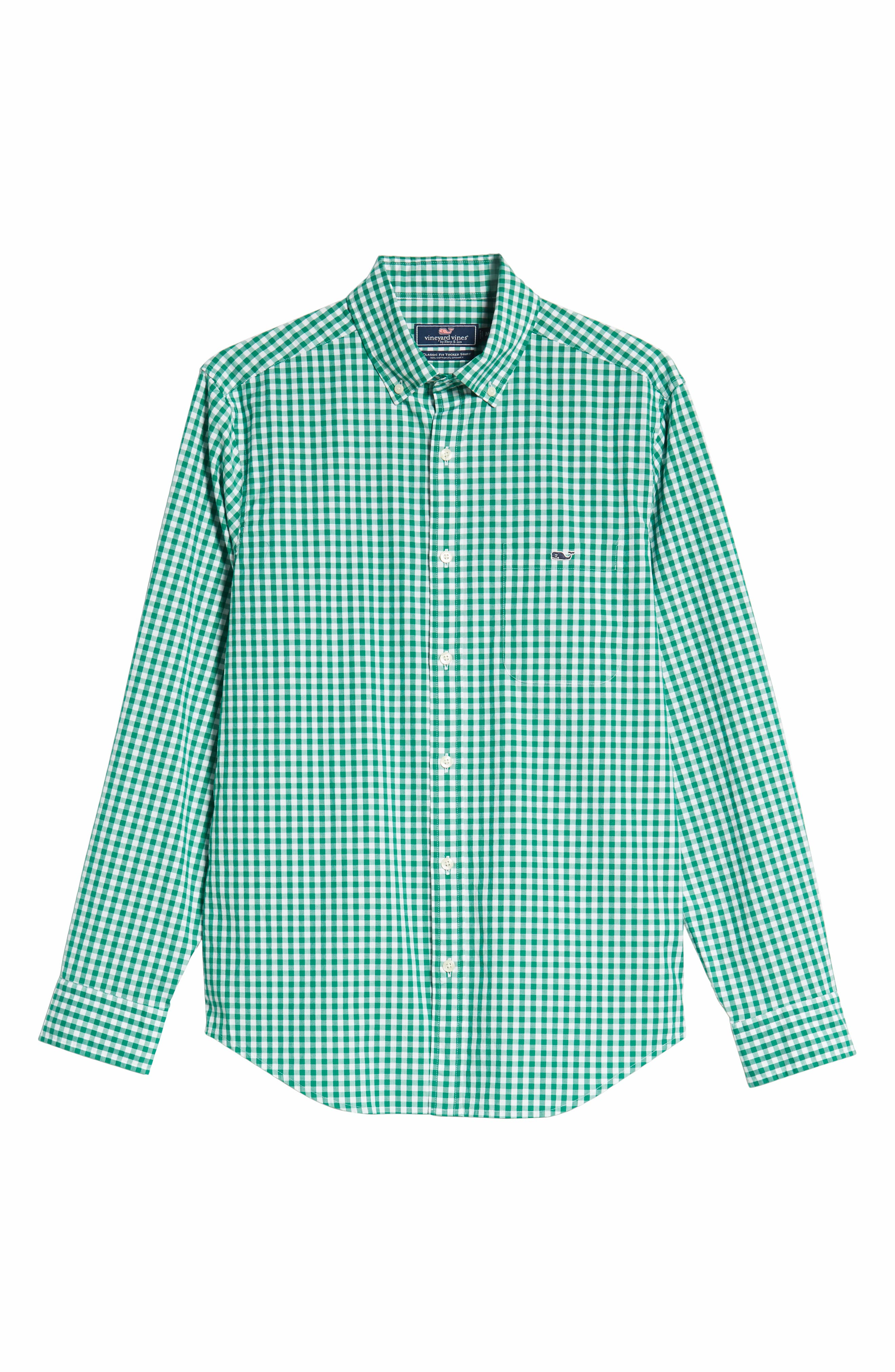 Carleton Classic Fit Gingham Sport Shirt,                             Alternate thumbnail 5, color,                             GREEN MEADOW