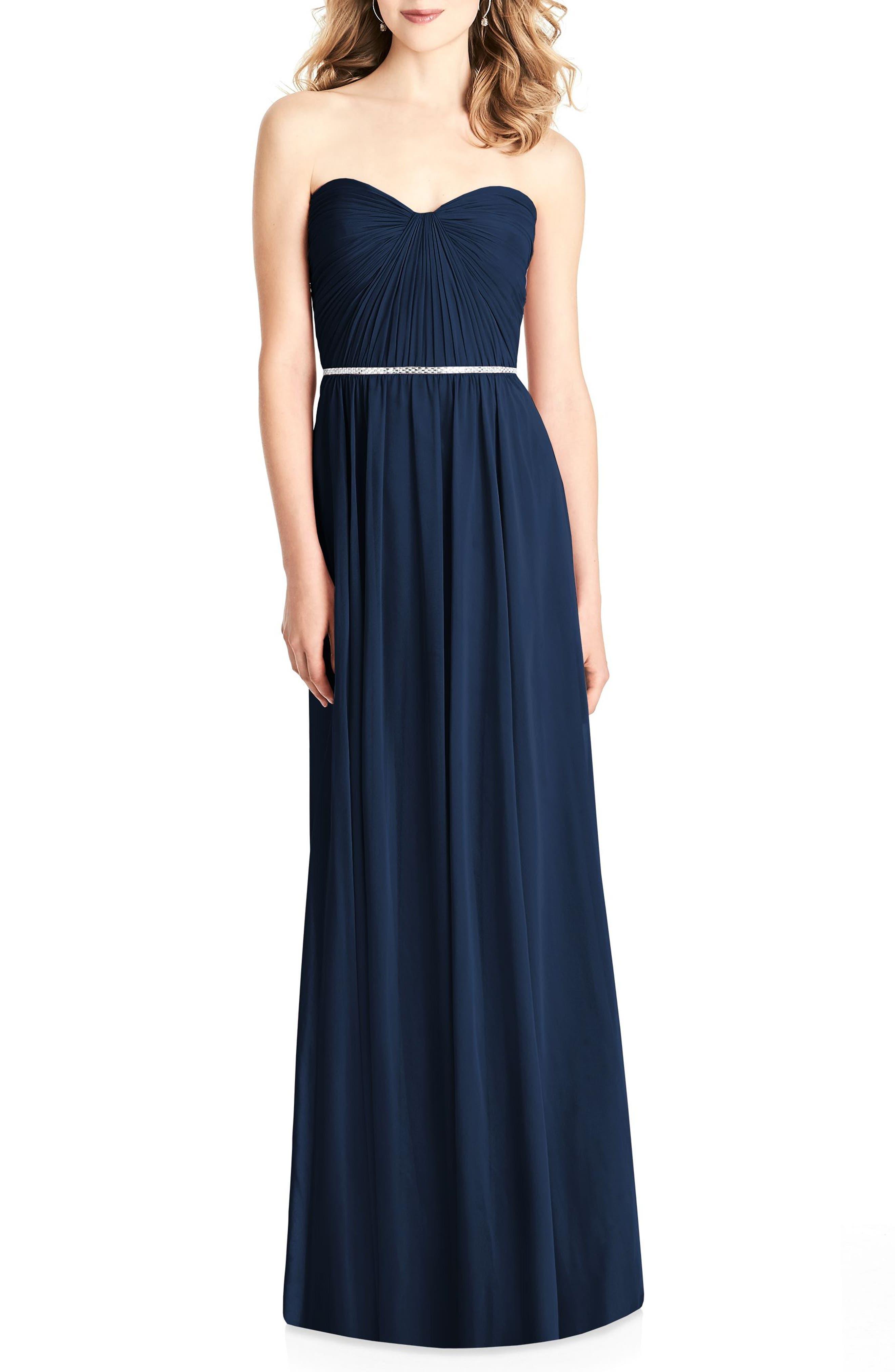 Jenny Packham Strapless Chiffon Gown, Blue