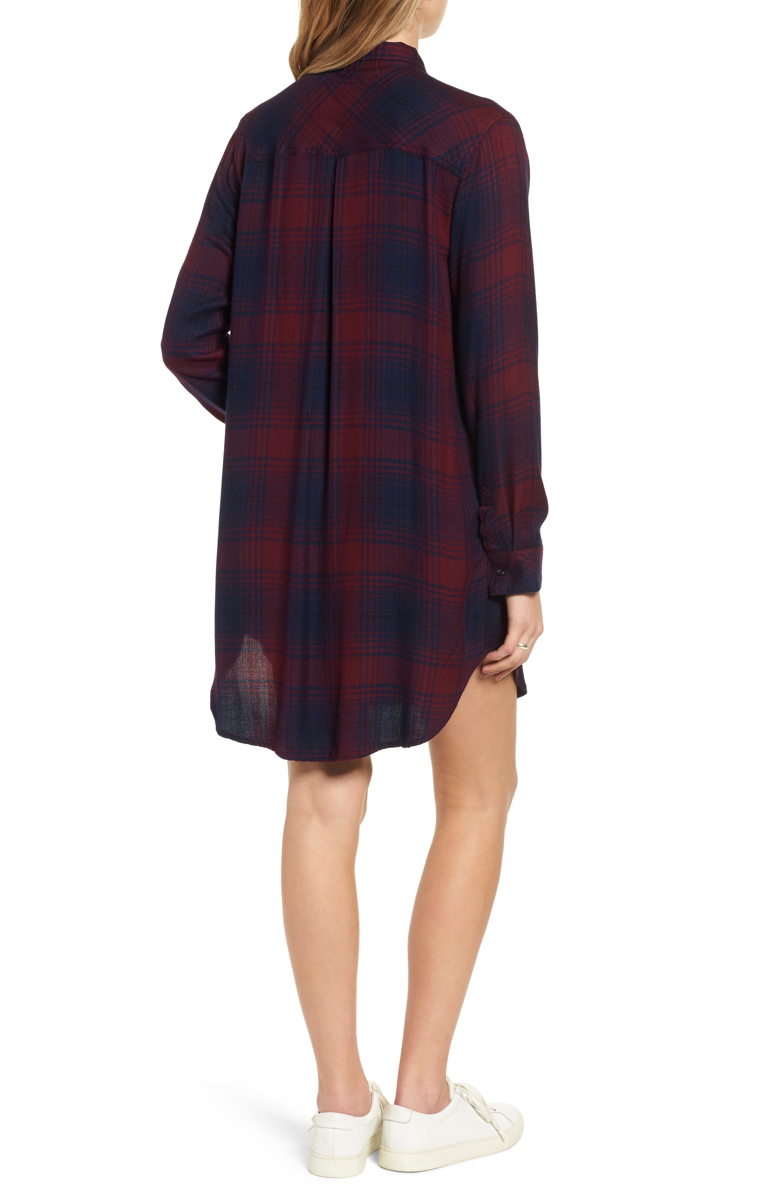 Bianca Flannel Shirtdress,                             Alternate thumbnail 3, color,                             CURRANT NAVY