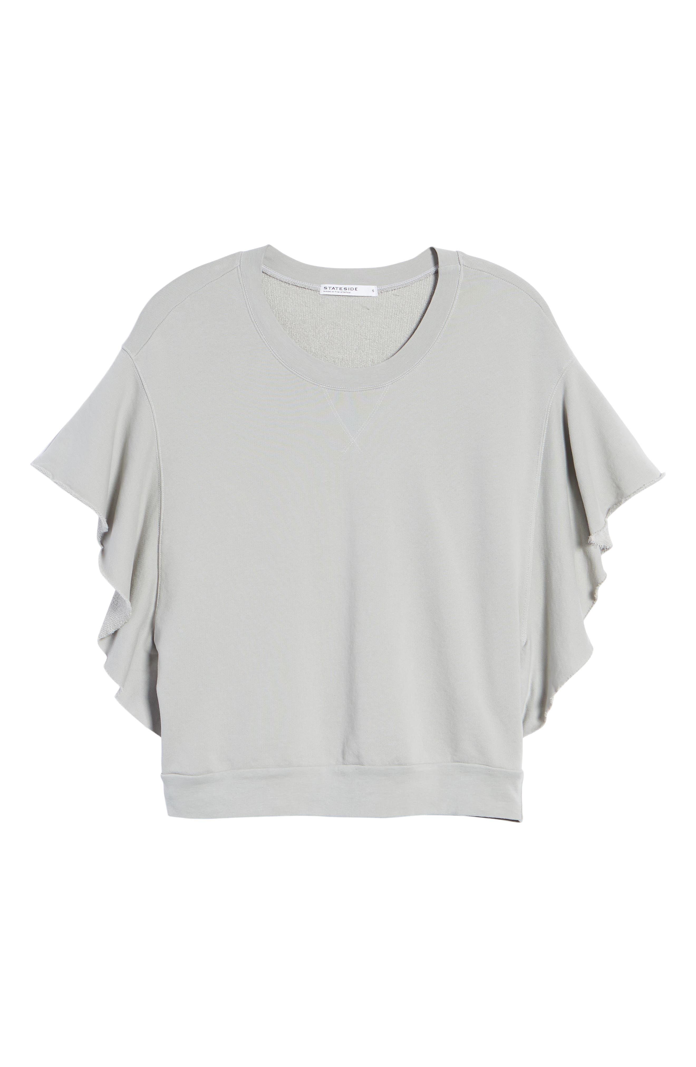 Ruffle Sweatshirt,                             Alternate thumbnail 6, color,                             SILVER