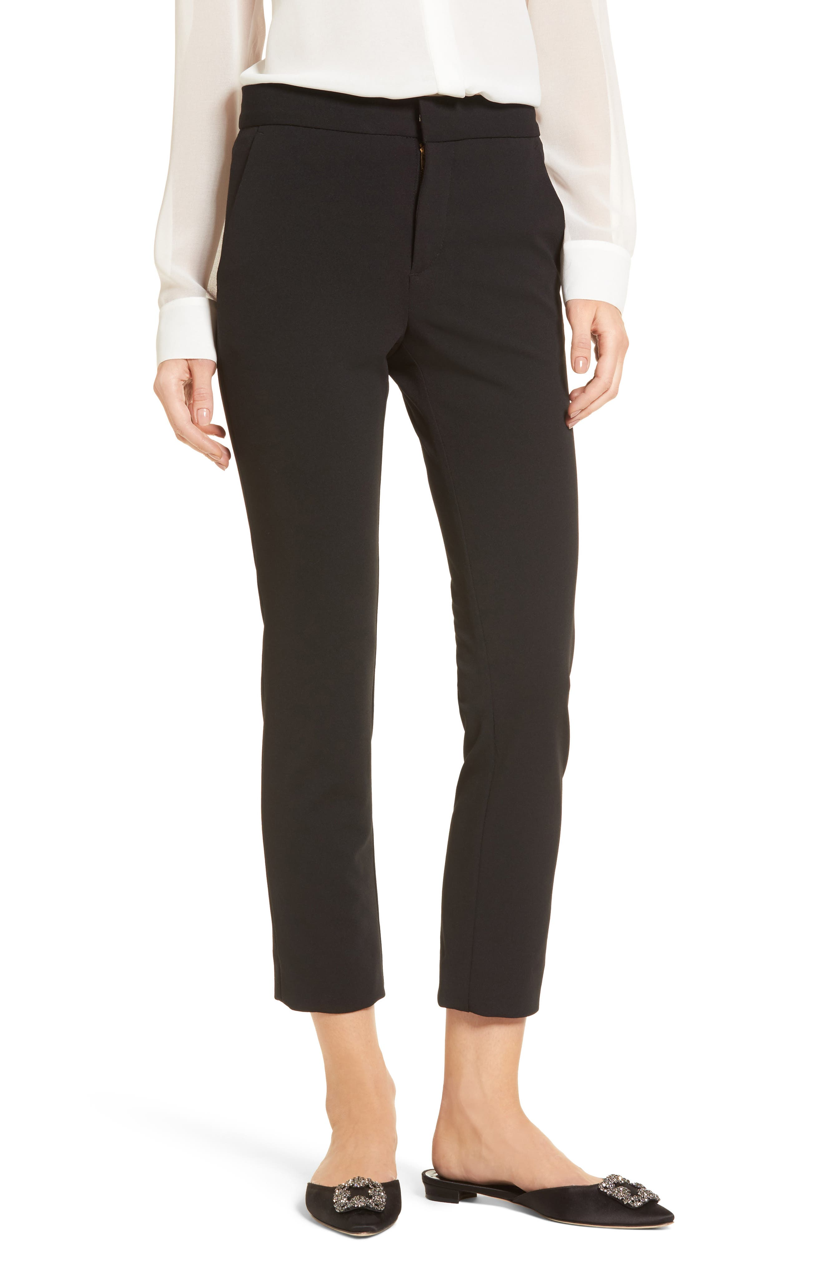 Lou Lou High Waist Crop Slim Trousers,                             Main thumbnail 1, color,                             001