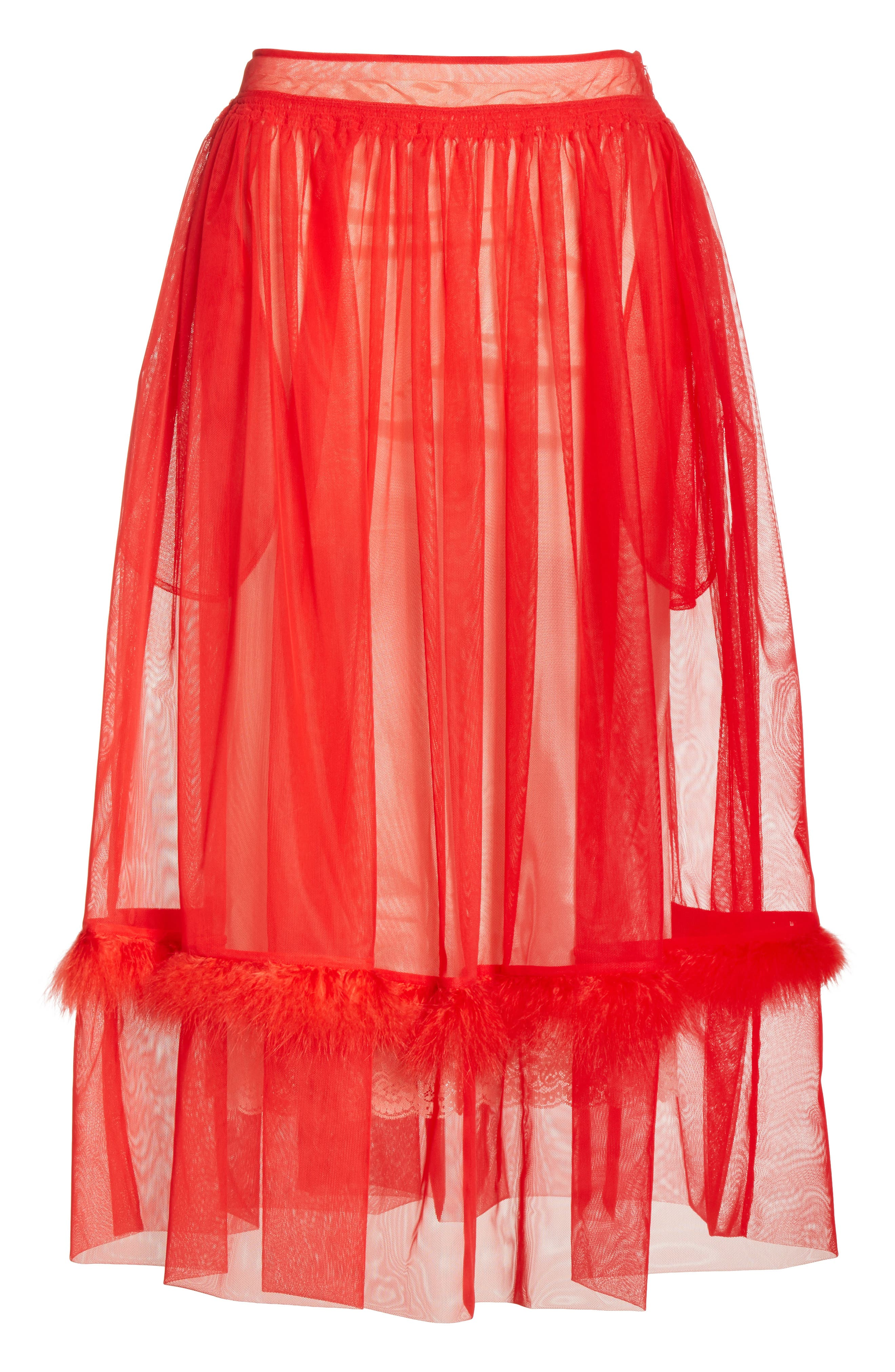 Marabou Trim Smock Waist Tulle Skirt,                             Alternate thumbnail 12, color,