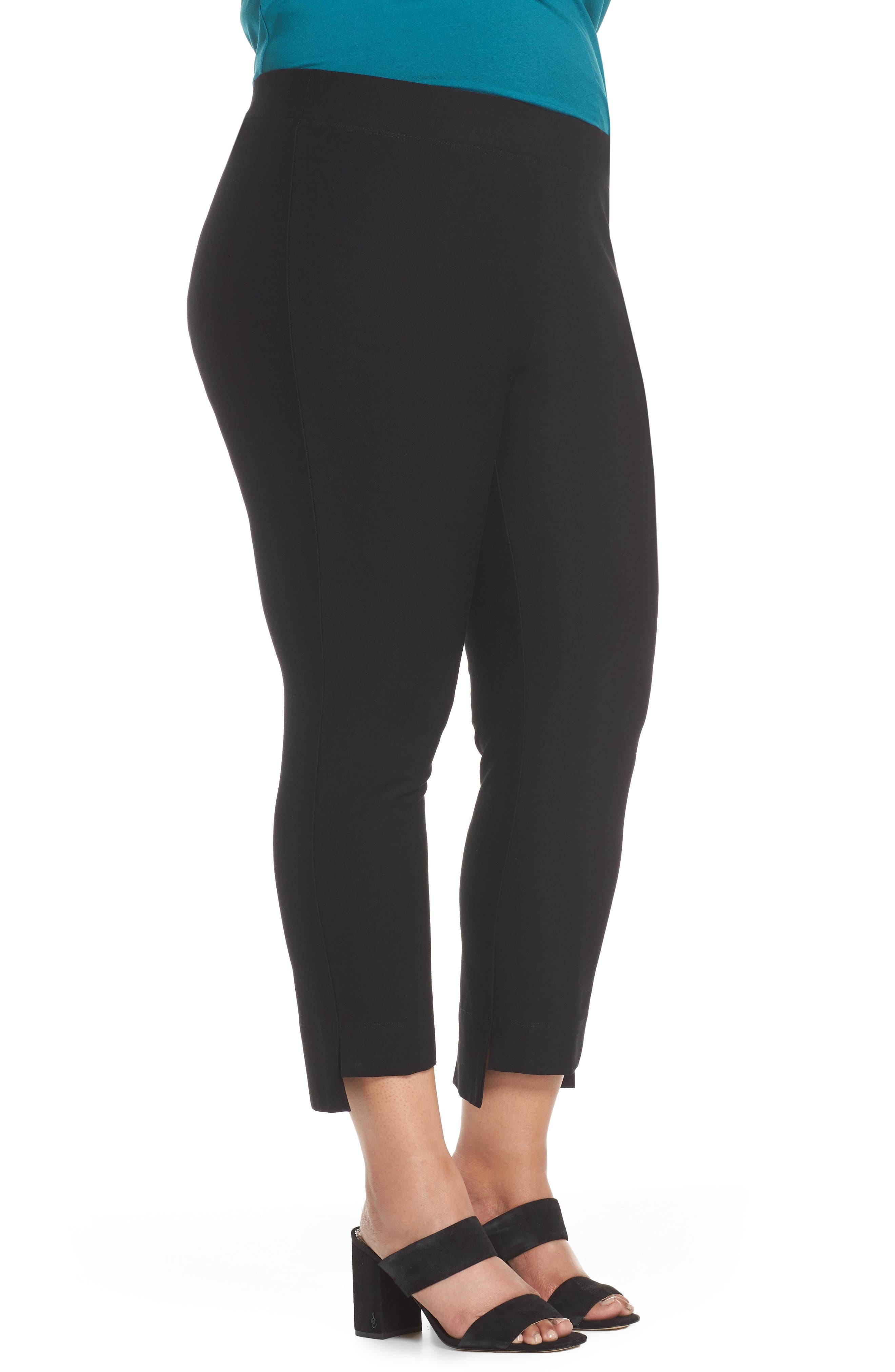Slim Fit Crop Pants,                             Alternate thumbnail 3, color,                             BLACK