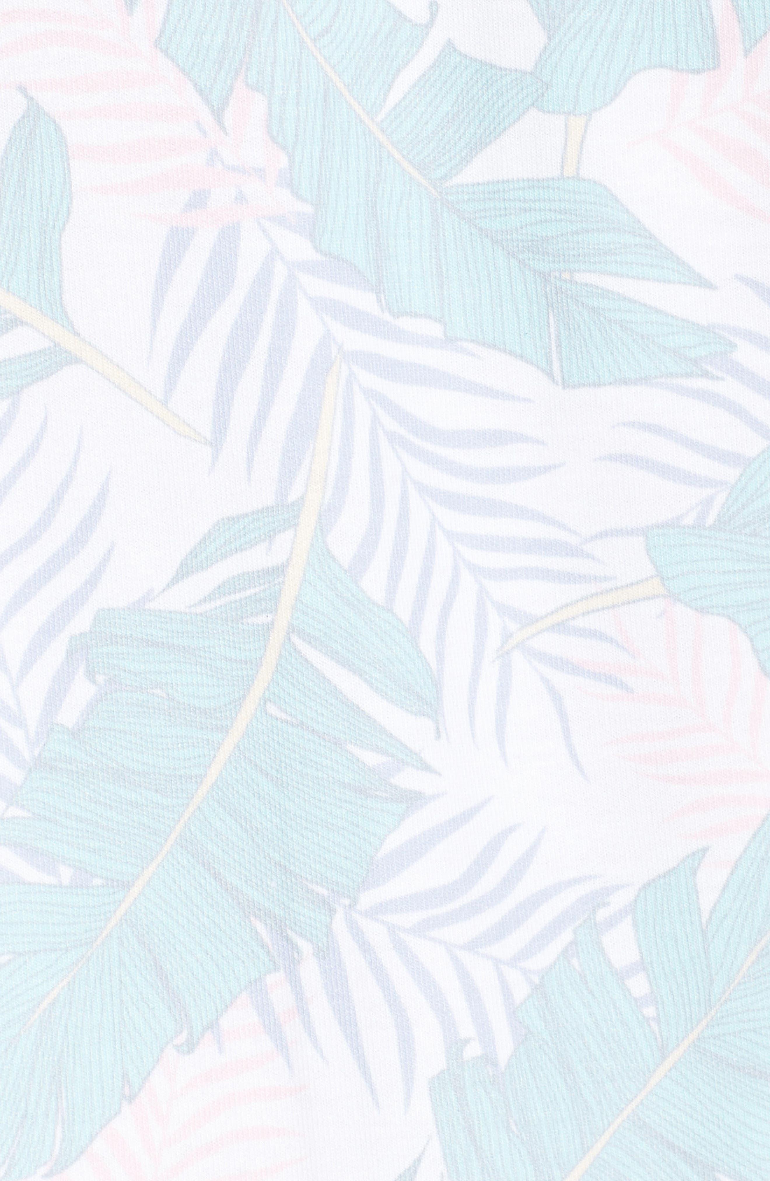 Leaf Print Zip Hoodie,                             Alternate thumbnail 5, color,