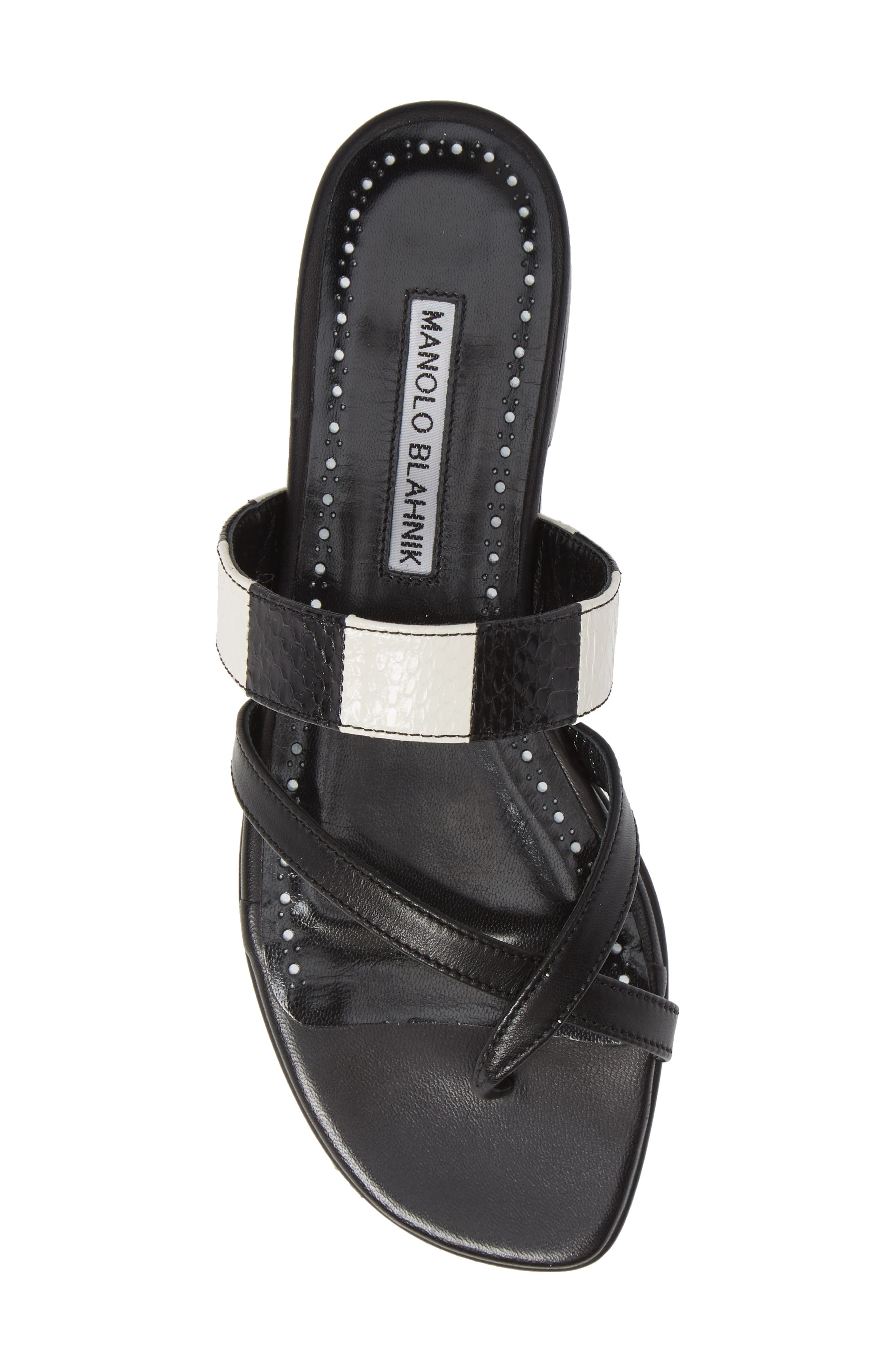 MANOLO BLAHNIK,                             Susa Genuine Snakeskin Sandal,                             Alternate thumbnail 5, color,                             BLACK/ WHITE LEATHER