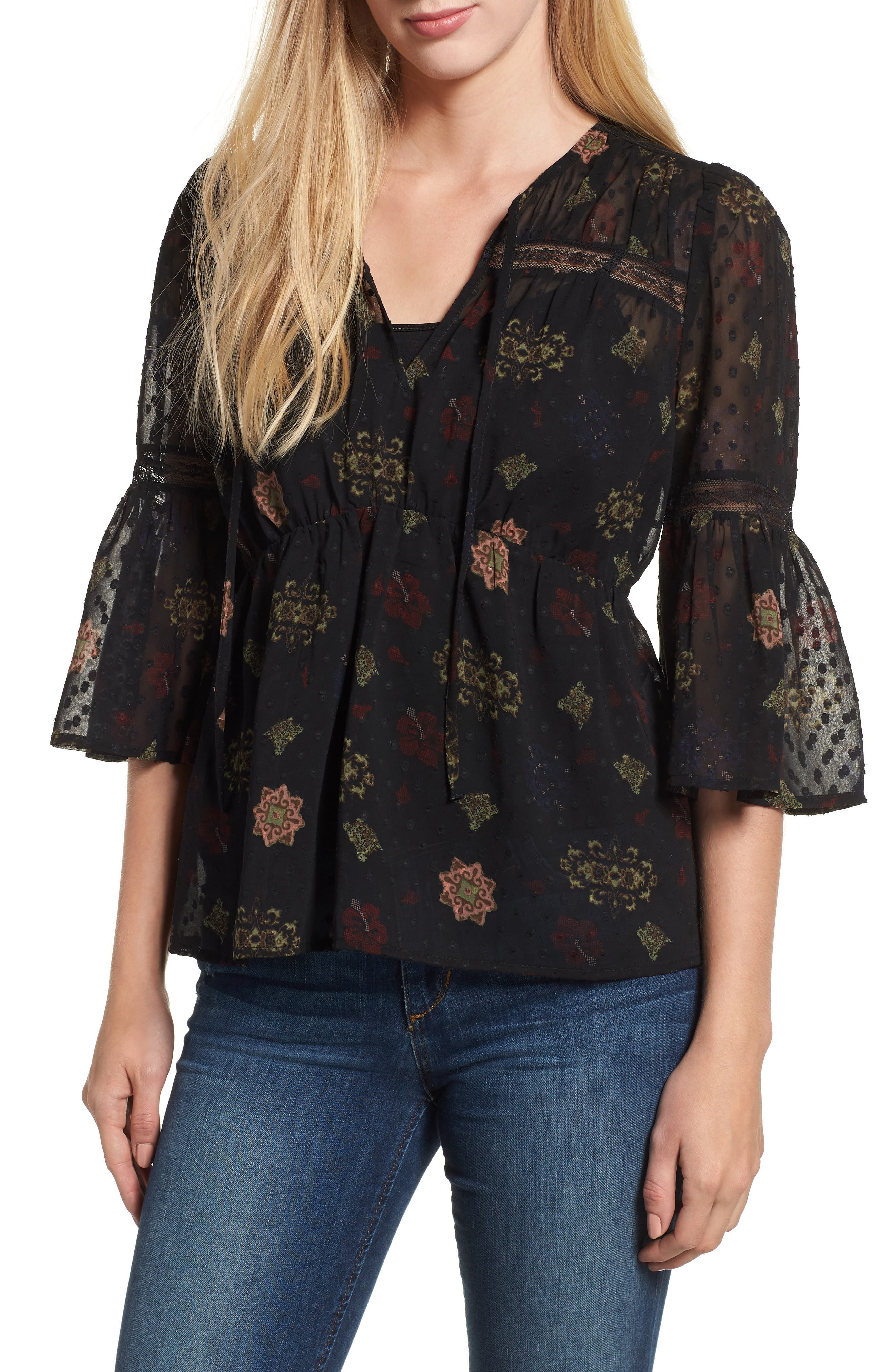 Swiss Dot Sheer Floral Blouse,                             Main thumbnail 1, color,                             001