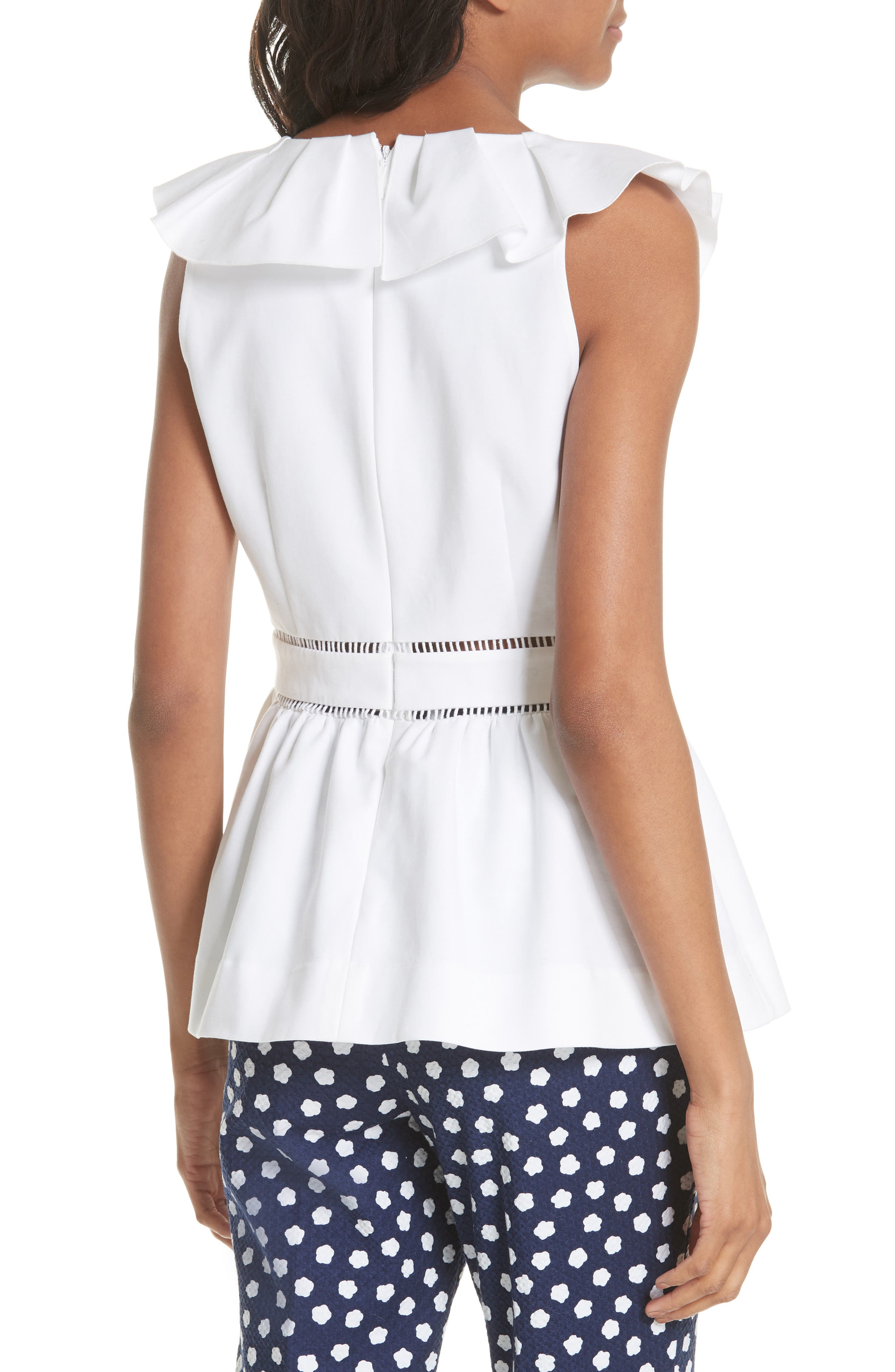 ruffle neck stretch cotton peplum blouse,                             Alternate thumbnail 4, color,