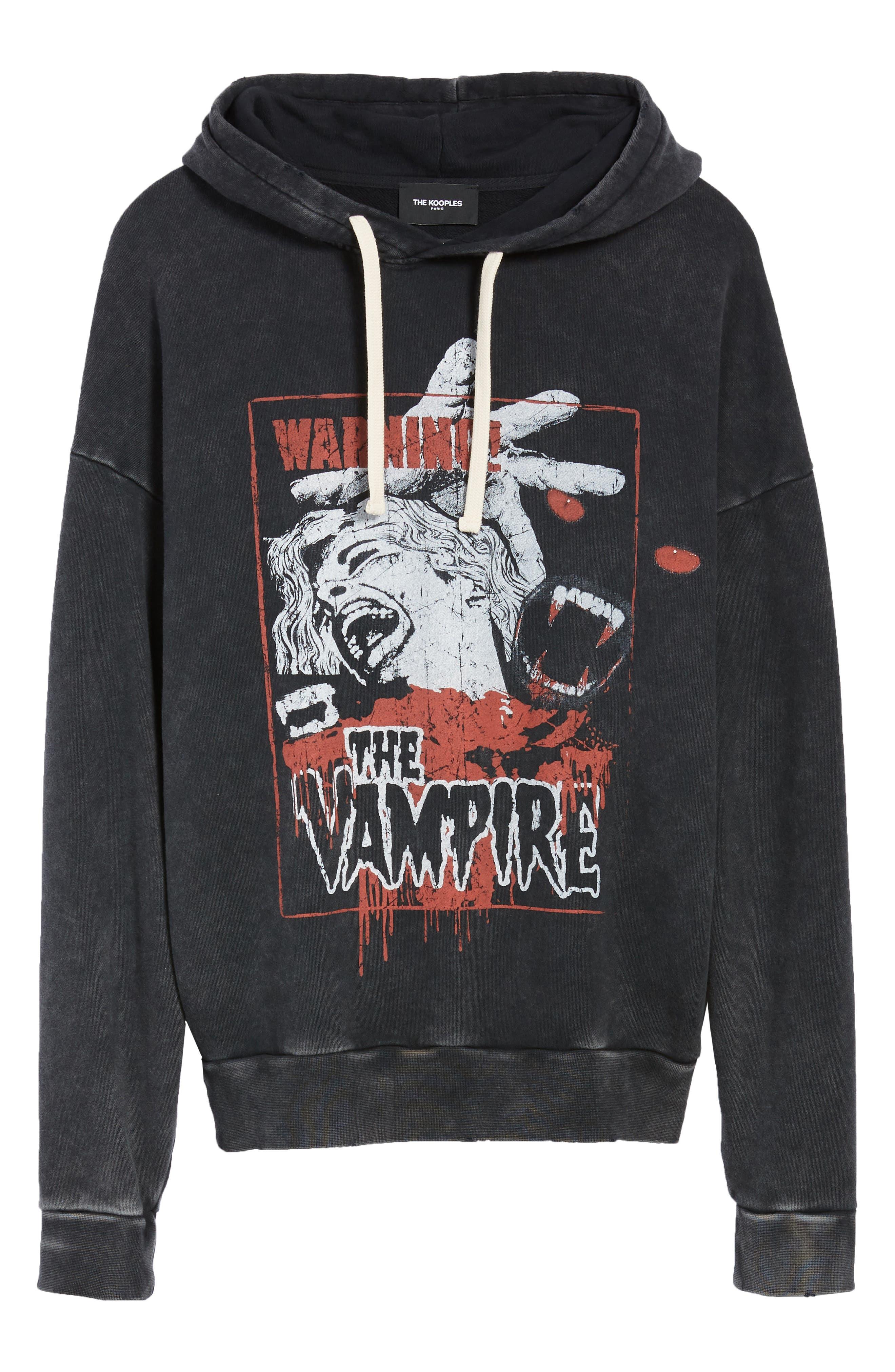 Vampire Graphic Hooded Sweatshirt,                             Alternate thumbnail 6, color,                             BLACK