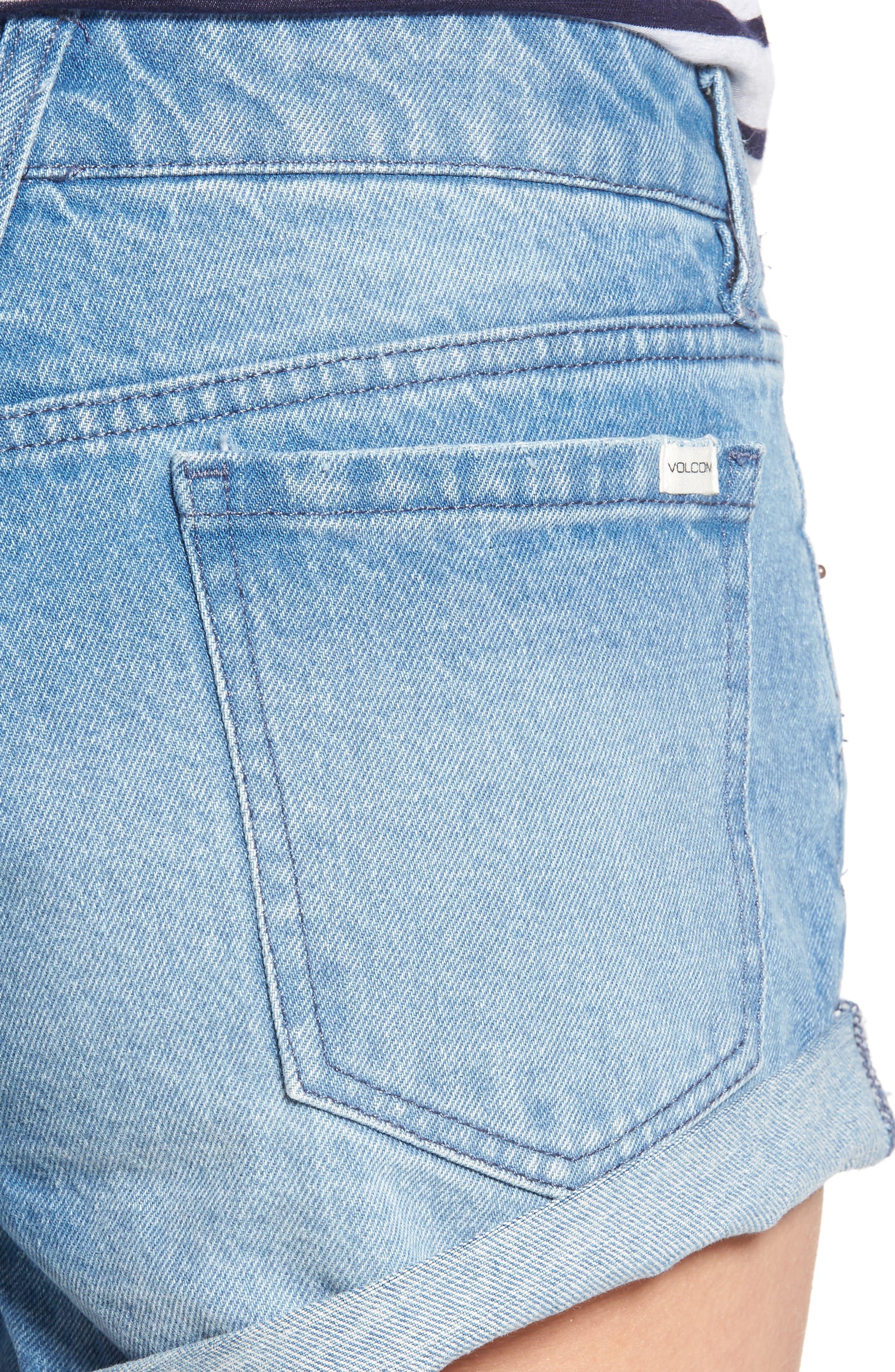 Rolled Denim Shorts,                             Alternate thumbnail 8, color,