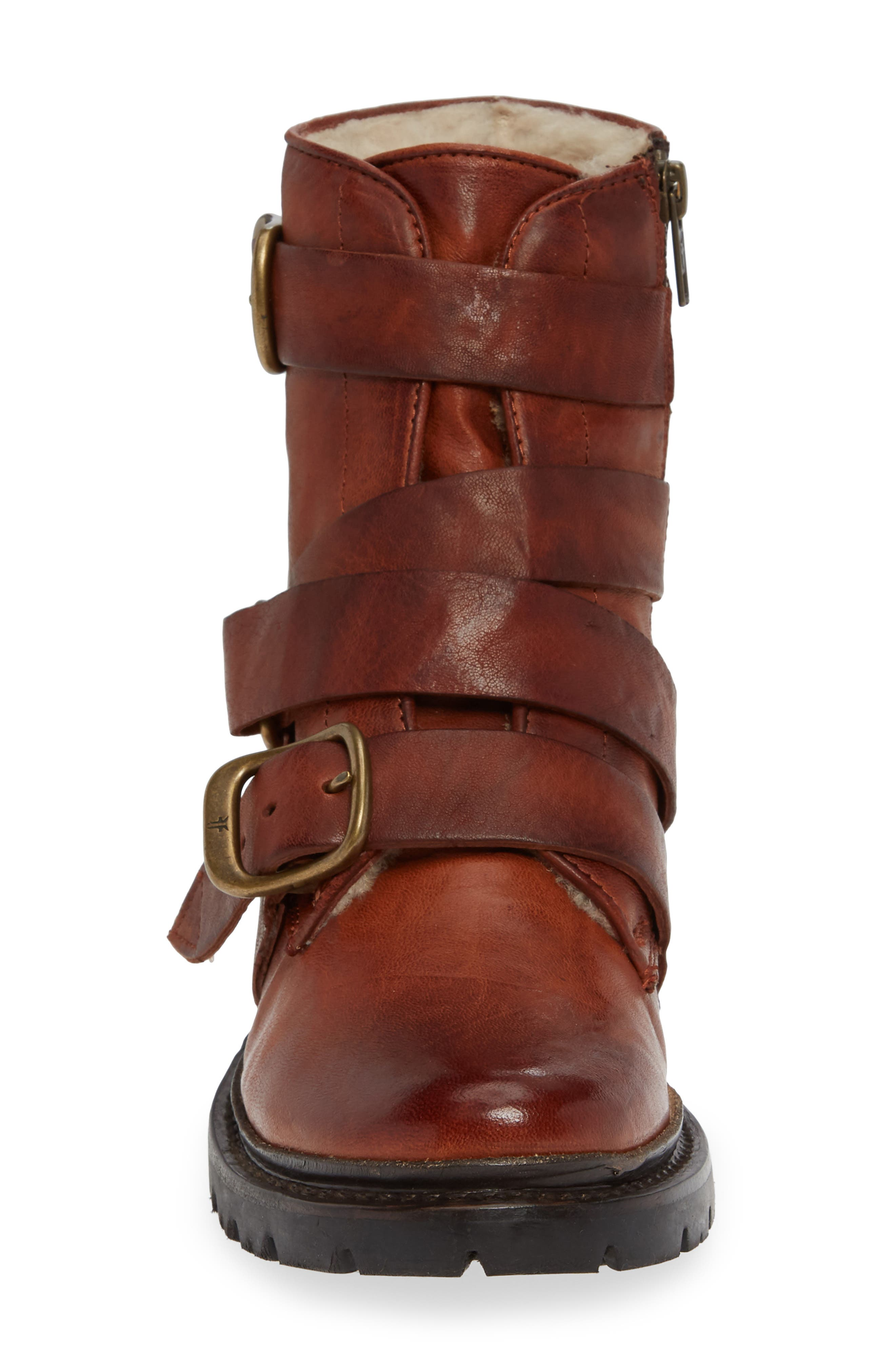 Vanessa Tanker Genuine Shearling Lined Boot,                             Alternate thumbnail 4, color,                             COGNAC LEATHER