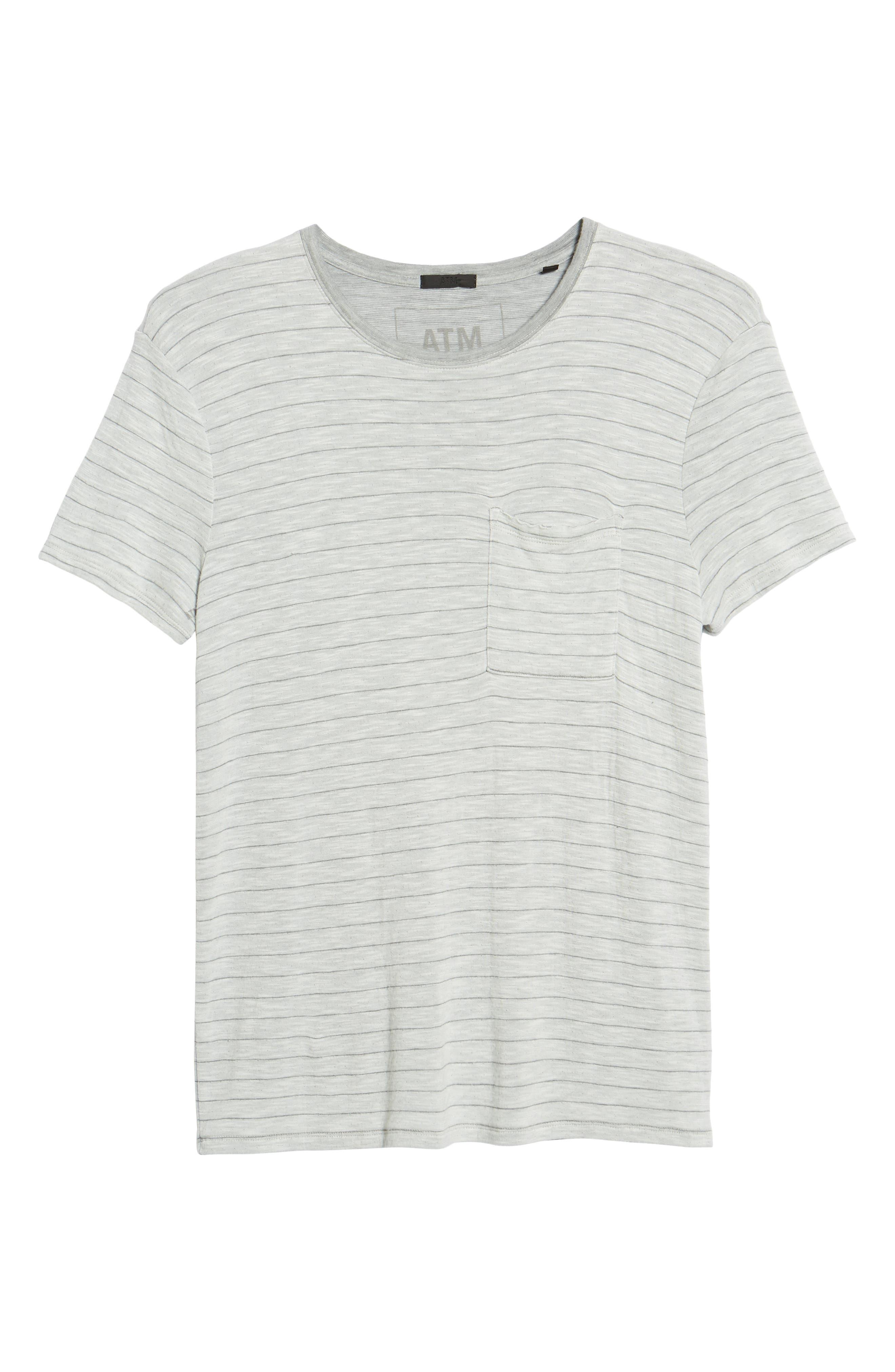 Slim Fit Stripe Slub Jersey T-Shirt,                             Alternate thumbnail 6, color,                             GREY STRIPE