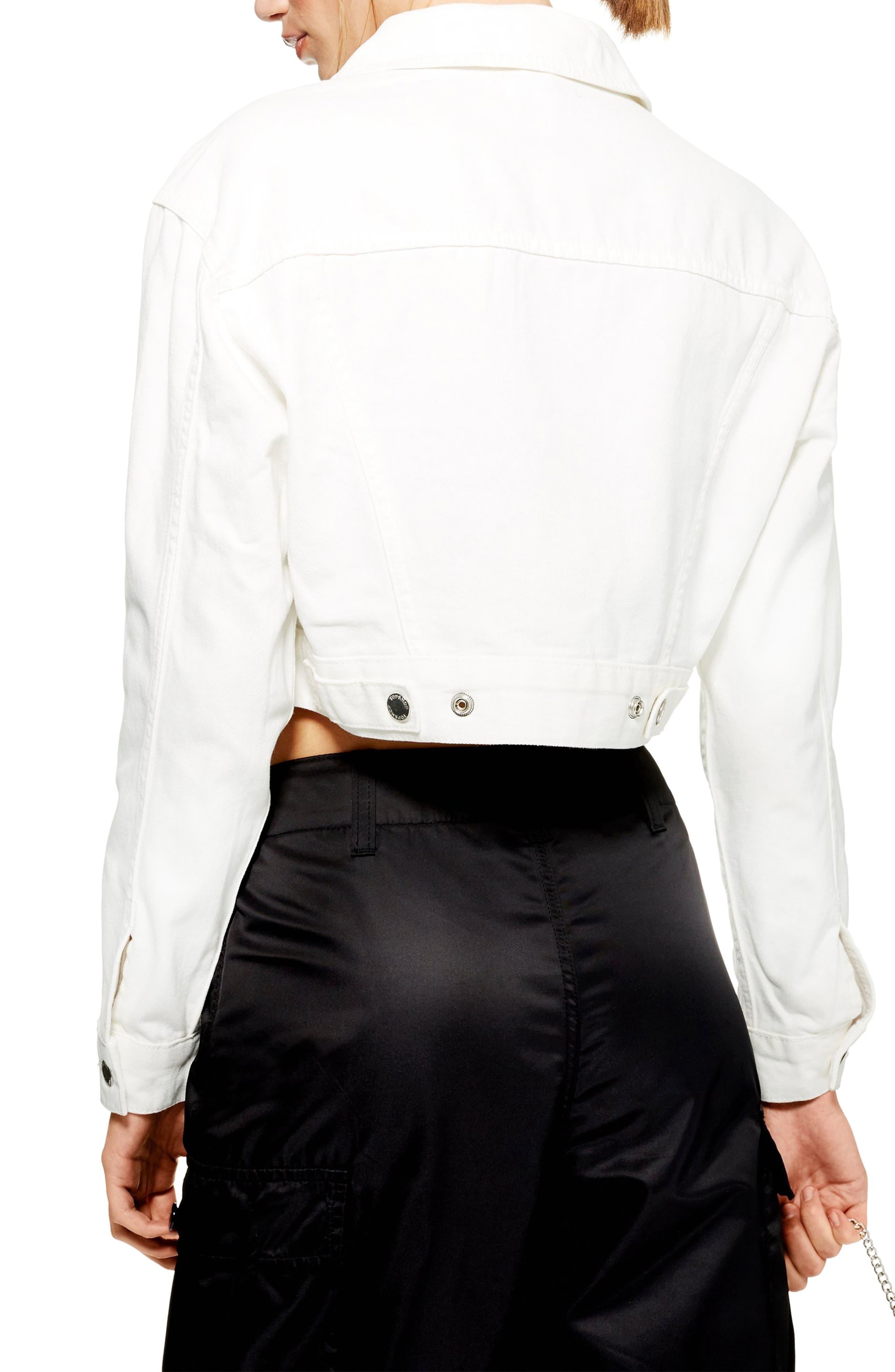 Classic Crop Denim Jacket,                             Alternate thumbnail 2, color,                             WHITE