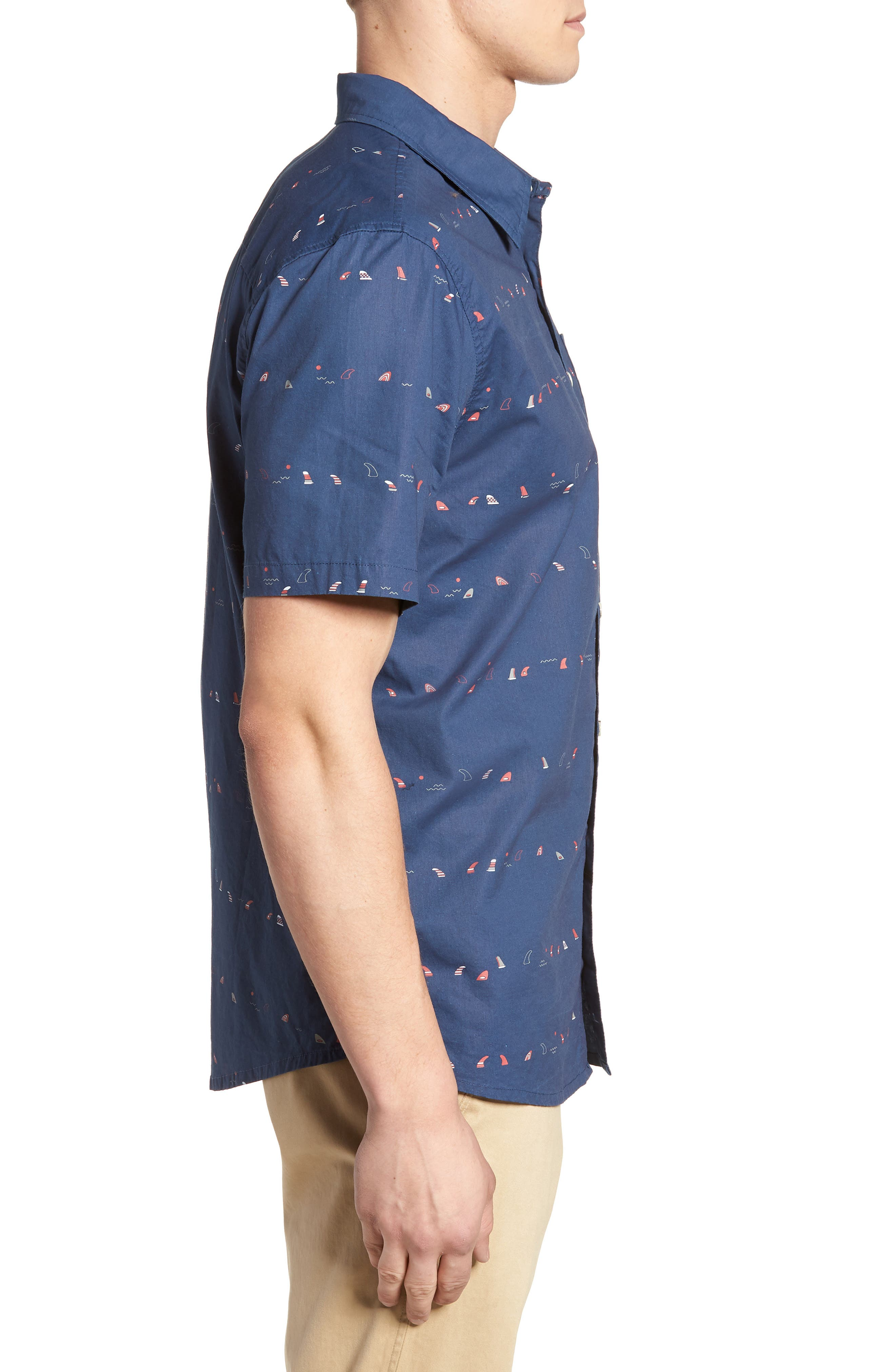 Single Fin Regular Fit Short Sleeve Sport Shirt,                             Alternate thumbnail 6, color,