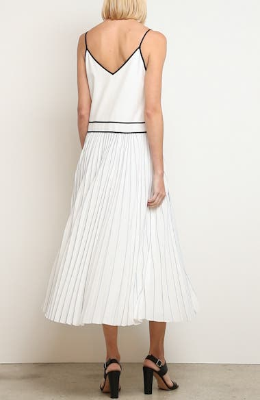Silk Pleated Skirt Midi Dress, video thumbnail