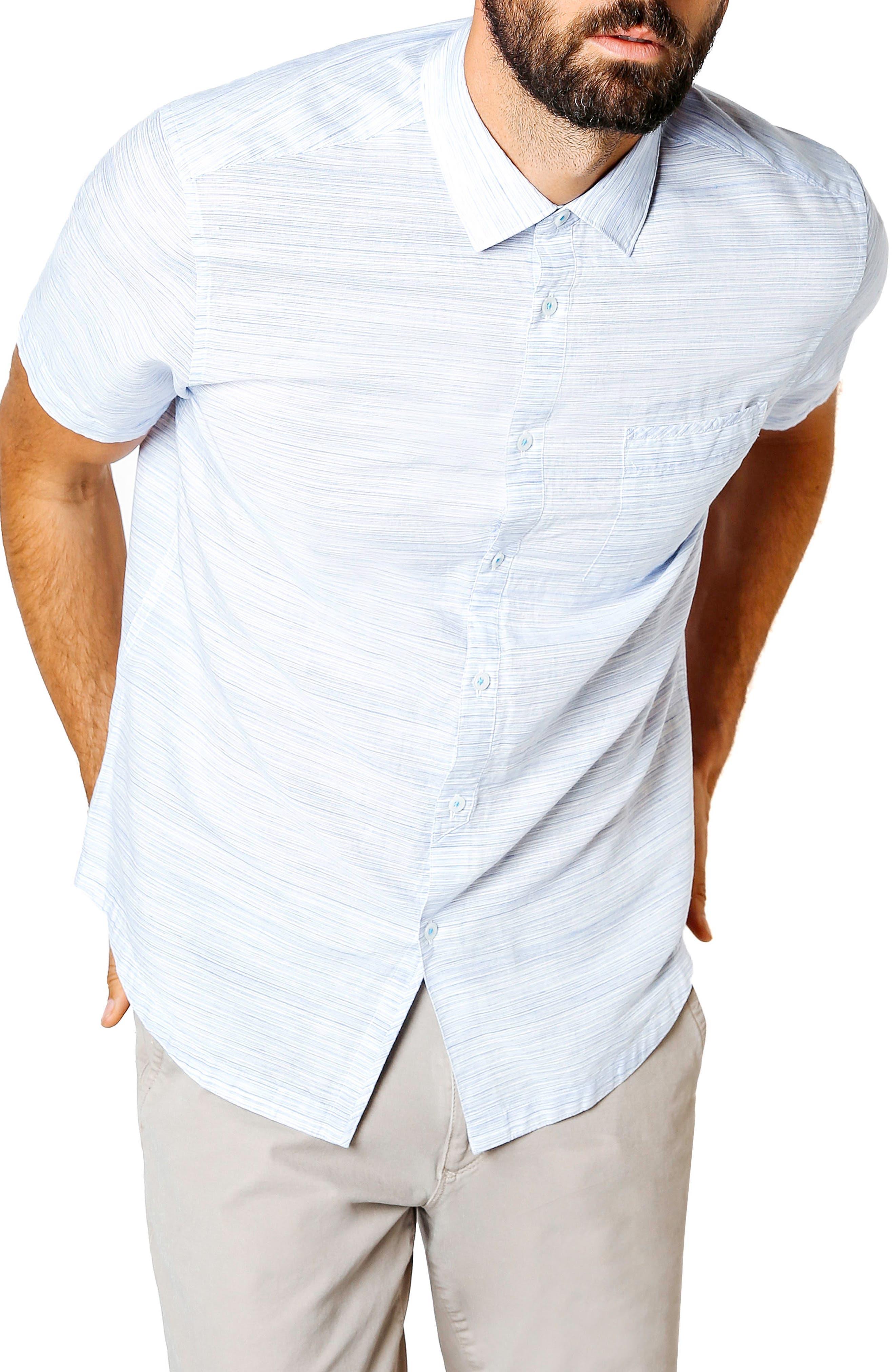 Slim Fit Stripe Short Sleeve Sport Shirt,                         Main,                         color, BLUE