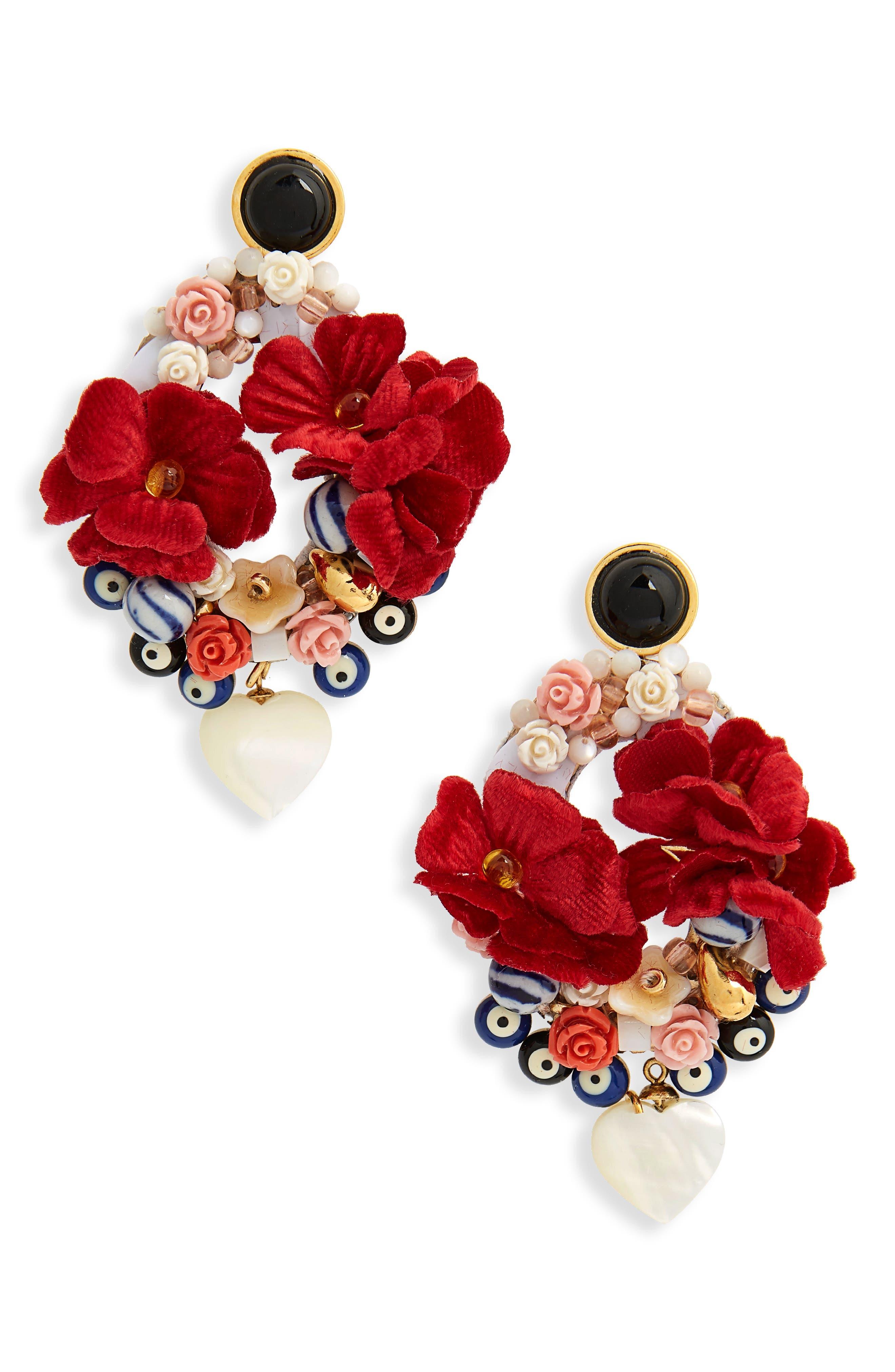 Gardenia Earrings,                             Main thumbnail 1, color,                             PINK MULTI