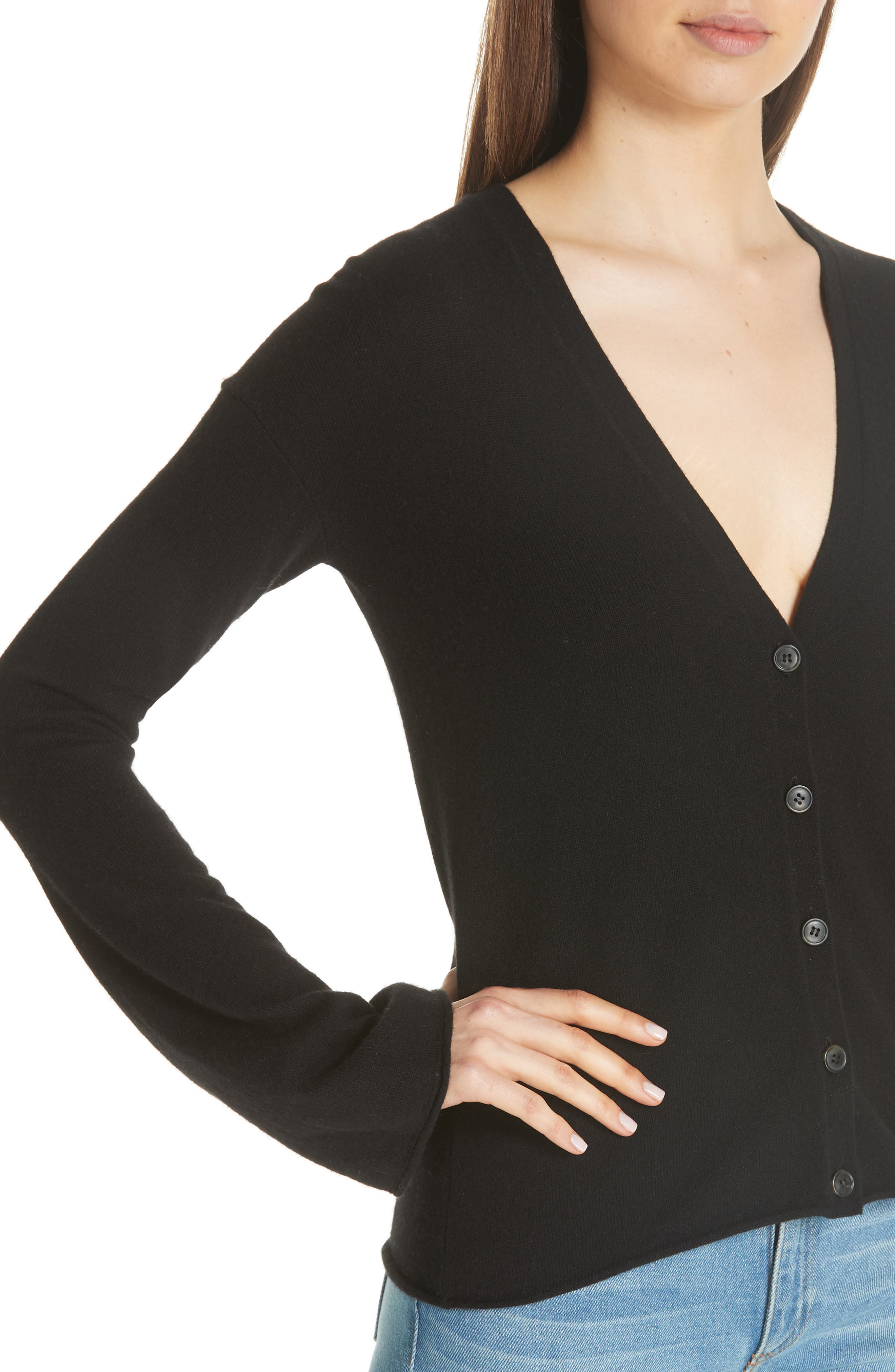 Bell Sleeve Cashmere Cardigan,                             Alternate thumbnail 4, color,                             001