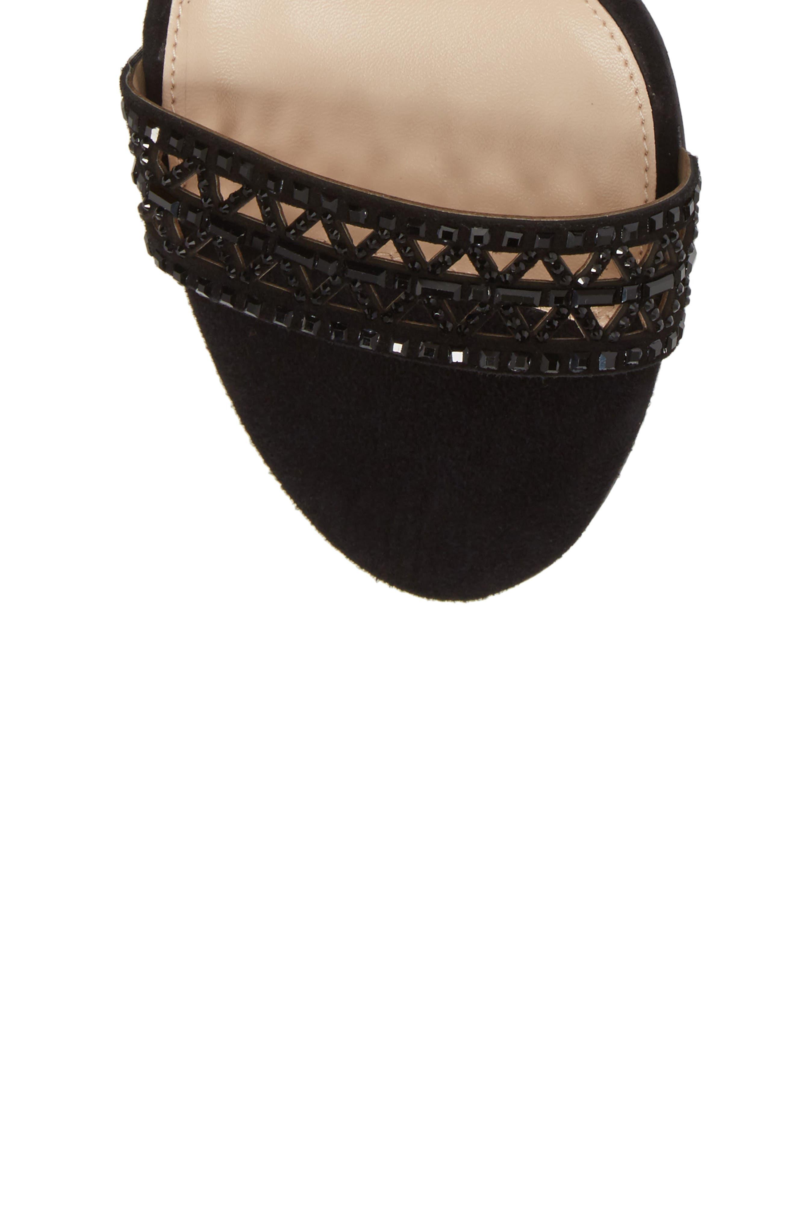 Karmina Embellished Sandal,                             Alternate thumbnail 5, color,                             BLACK SUEDE