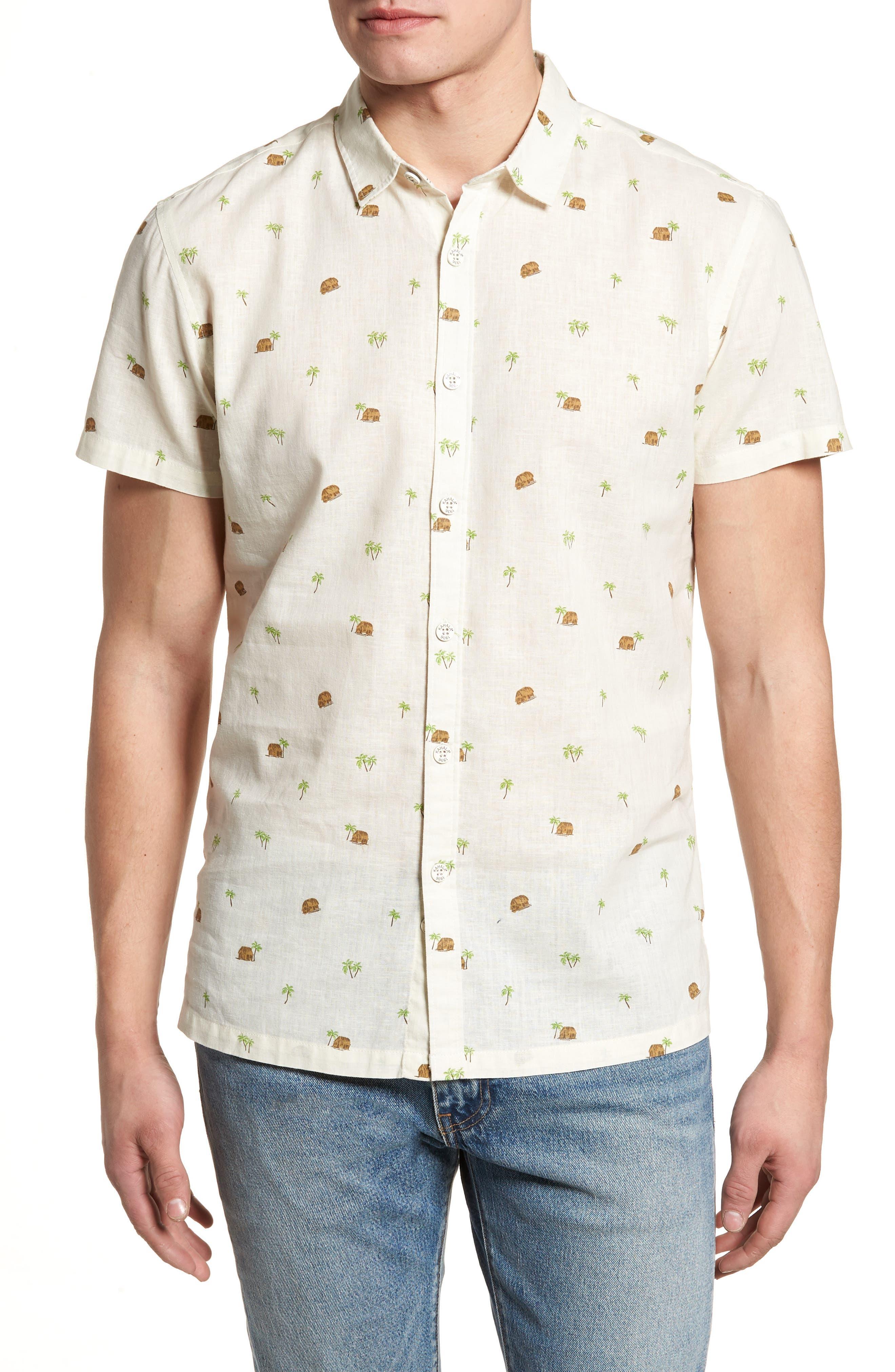 Hale Niu Trim Fit Linen Blend Camp Shirt,                         Main,                         color, 102