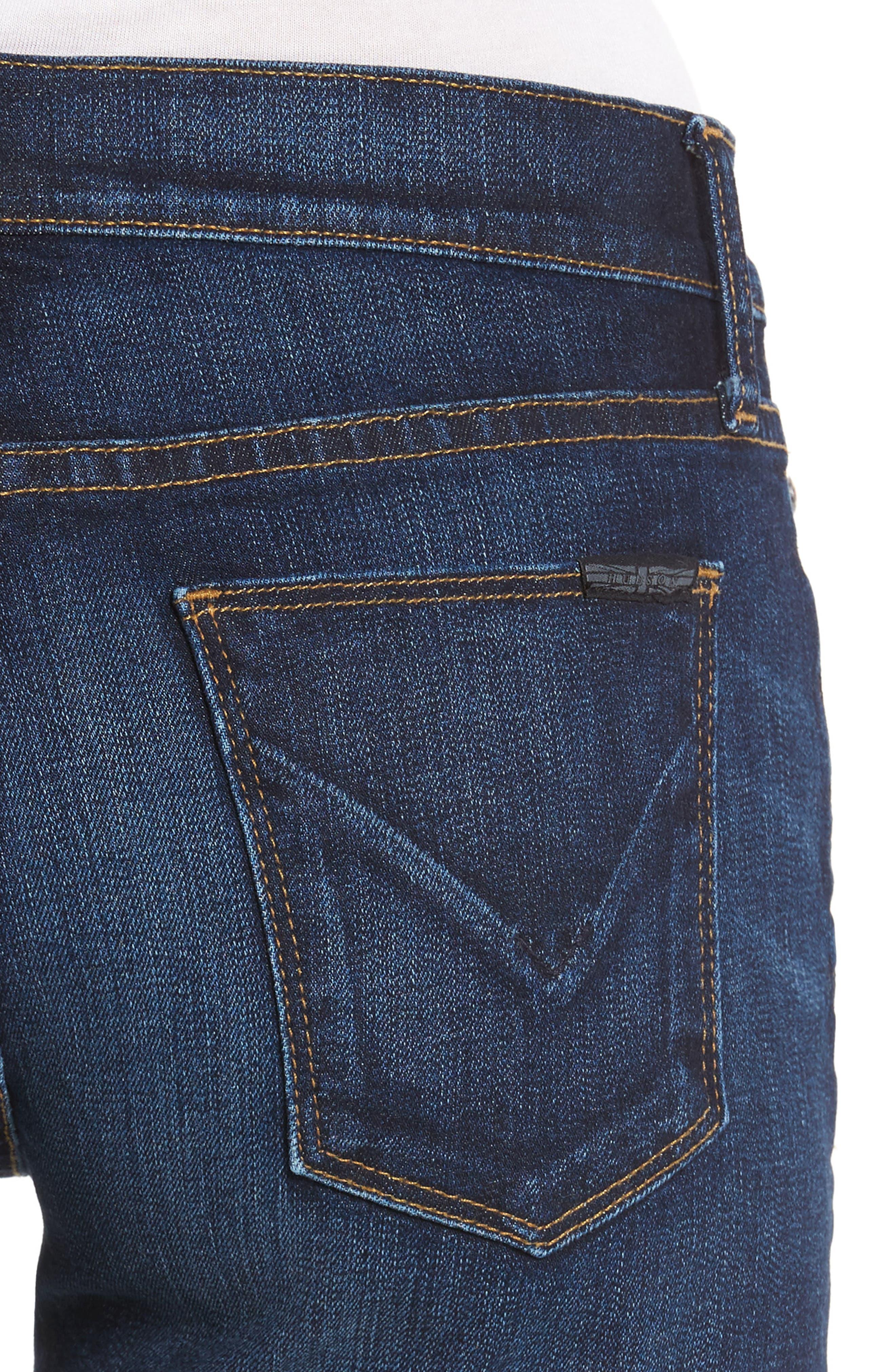 Asha Denim Shorts,                             Alternate thumbnail 4, color,                             401