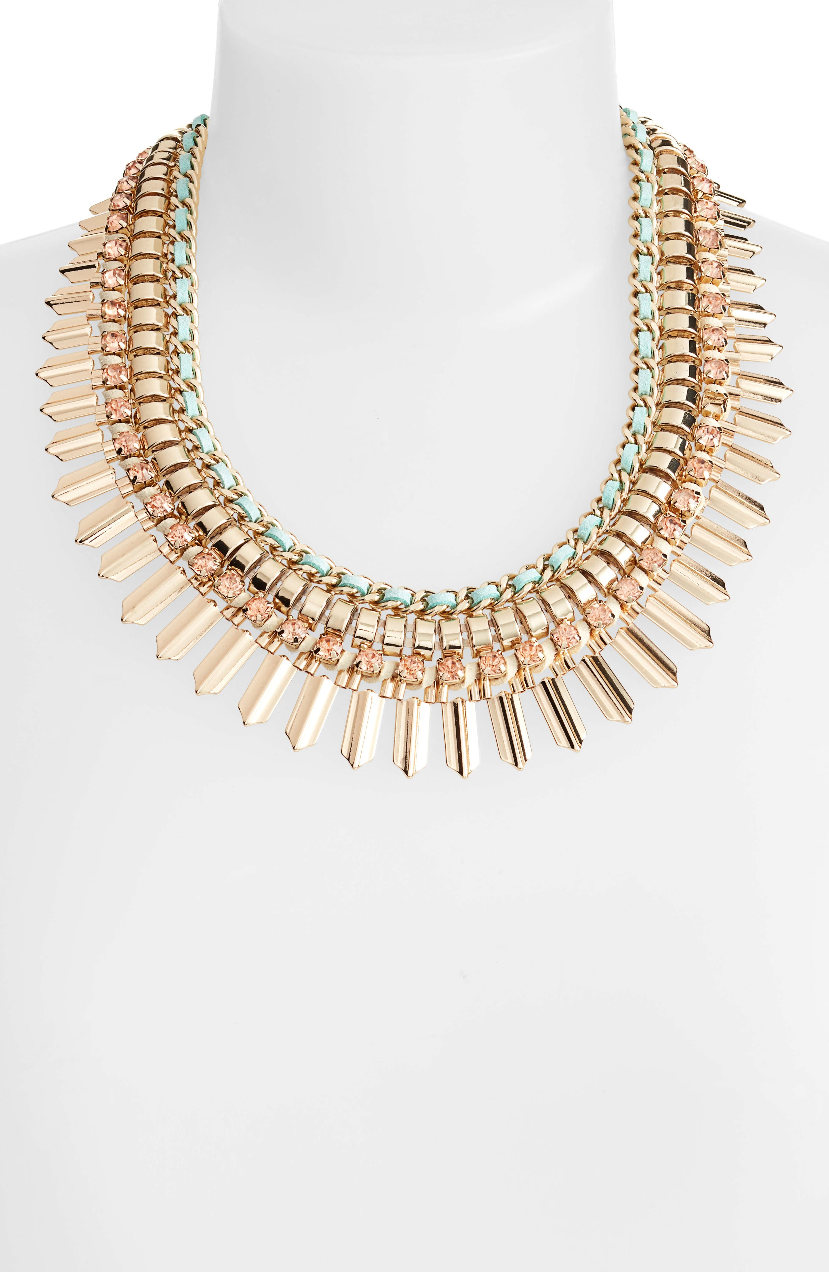Crystal & Suede Statement Necklace,                             Alternate thumbnail 2, color,                             MINT GREEN