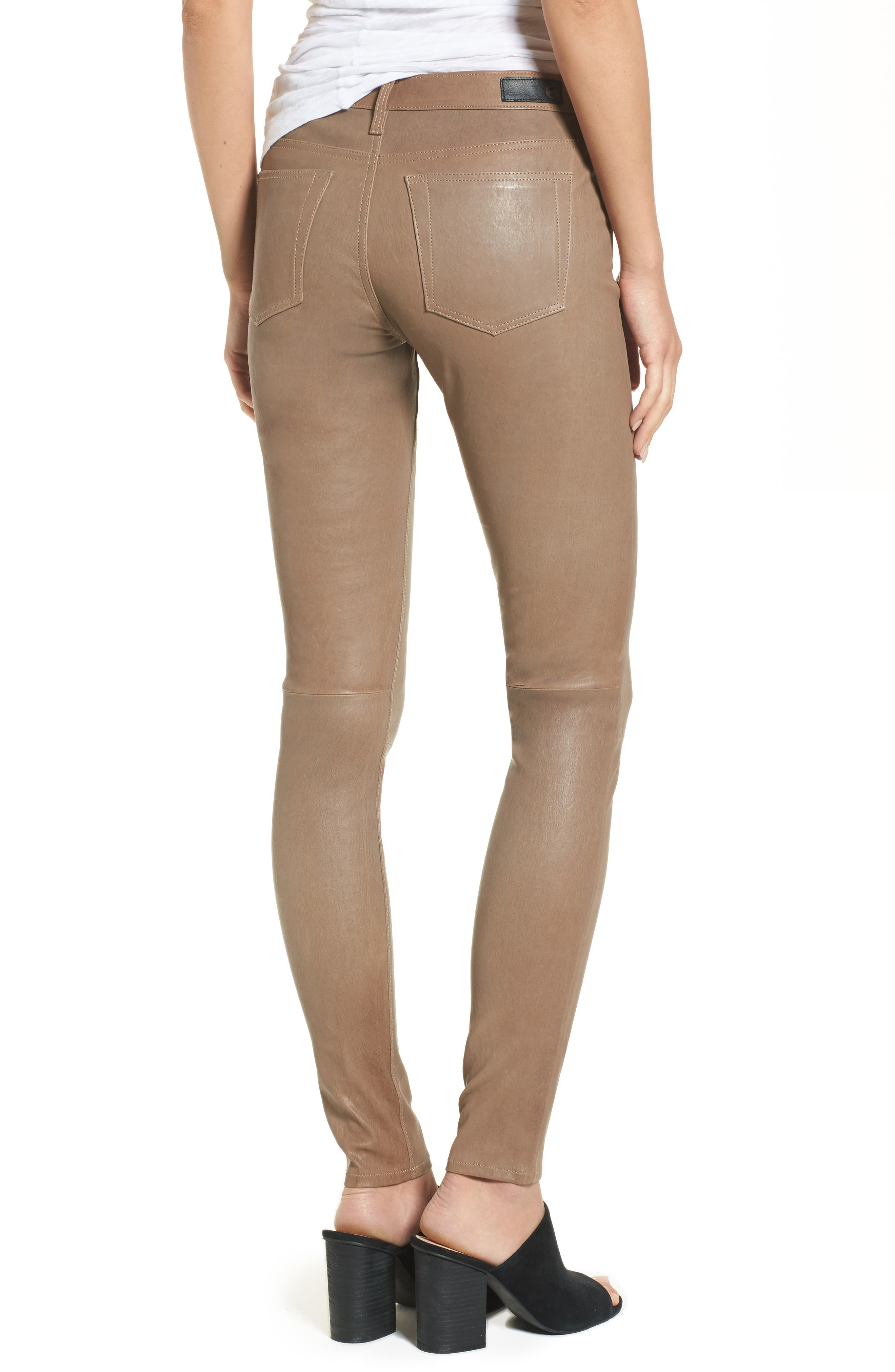 The Legging Super Skinny Leather Pants,                             Alternate thumbnail 2, color,                             RUSTIC TAUPE