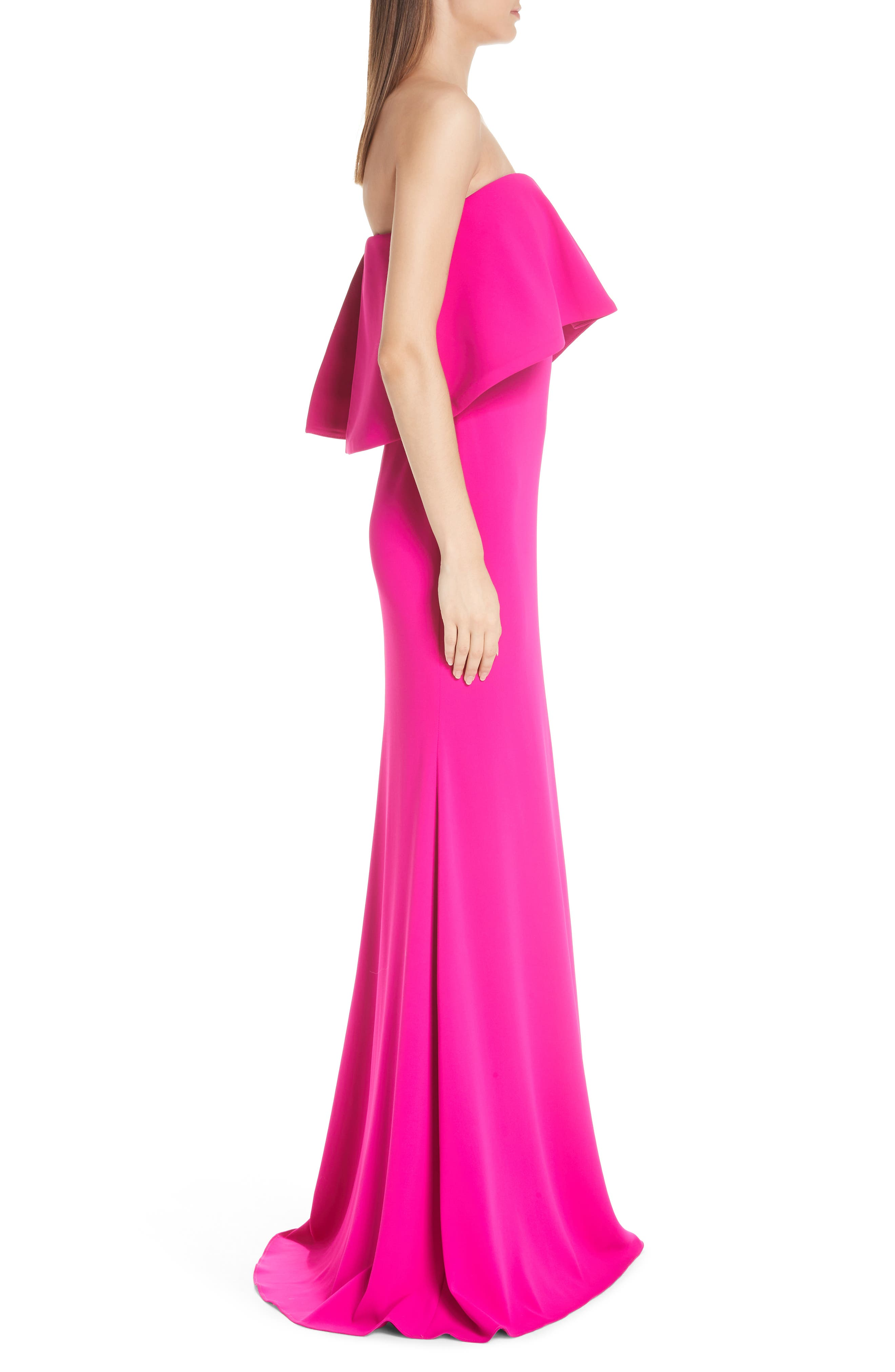 BADGLEY MISCHKA COLLECTION,                             Strapless Popover Column Gown,                             Alternate thumbnail 3, color,                             DEEP MAGENTA